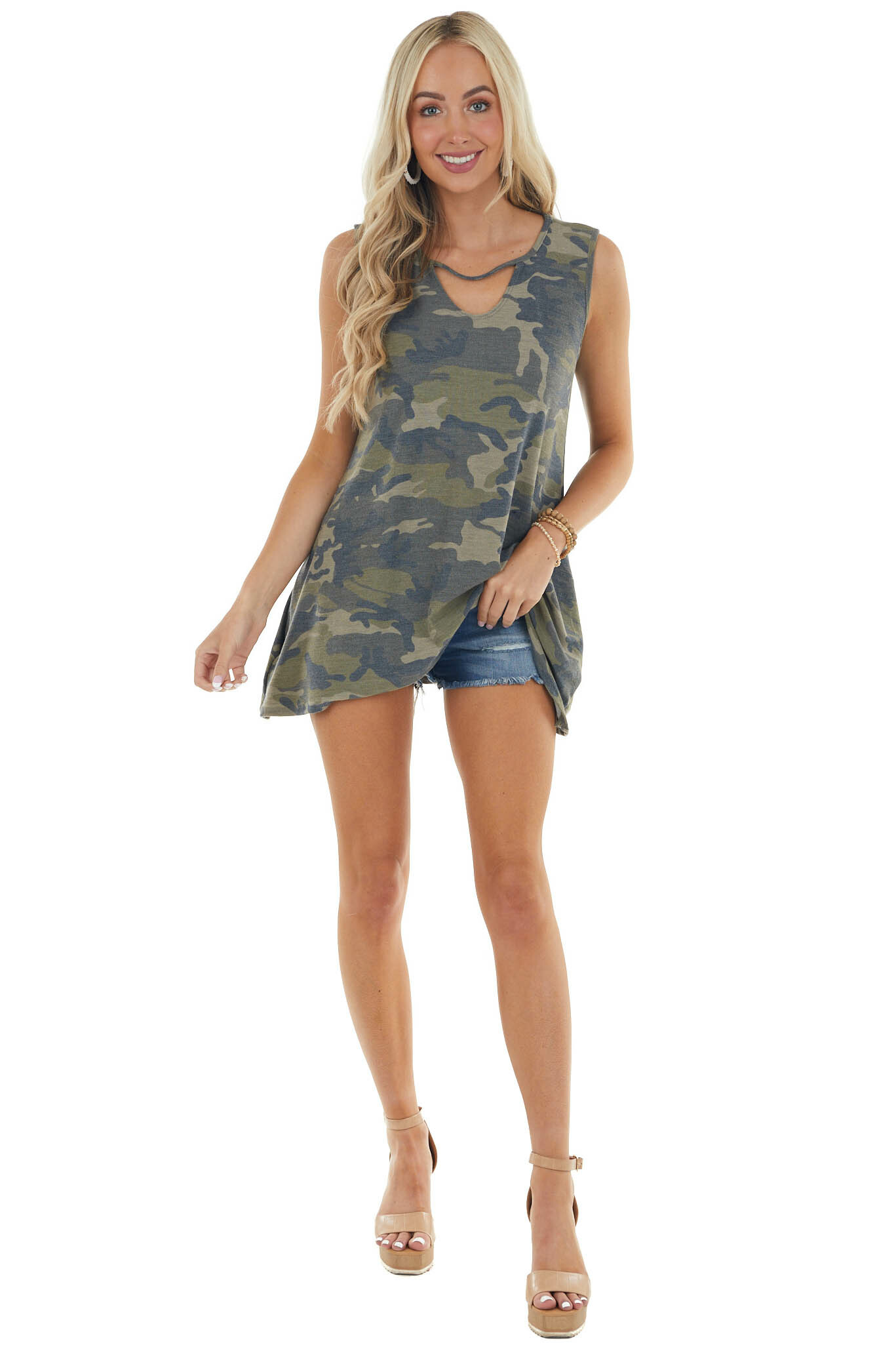 Forest Camo Soft Knit Sleeveless Top with Keyhole Details