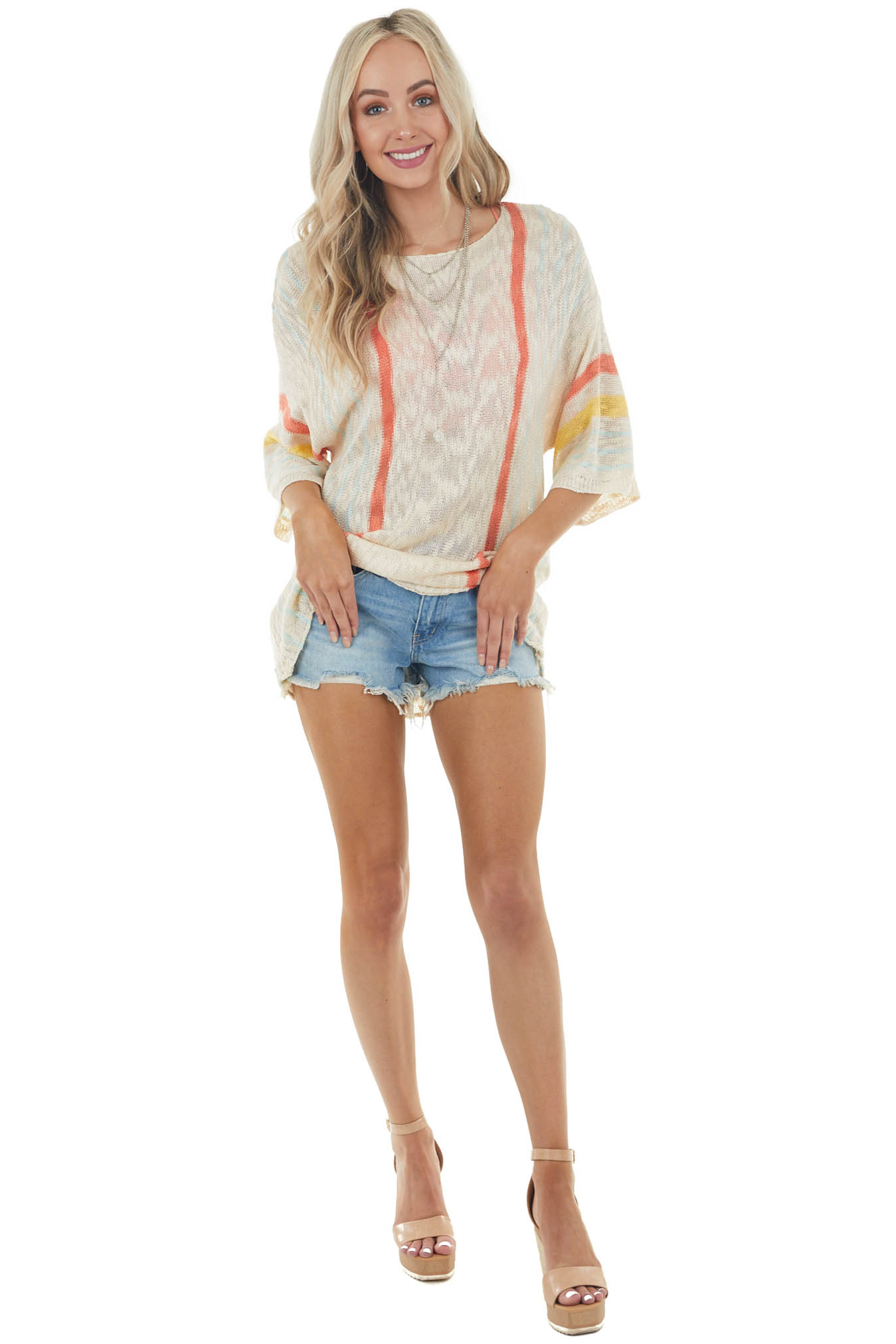Desert Sand Striped Loose Sweater with Half Length Sleeves