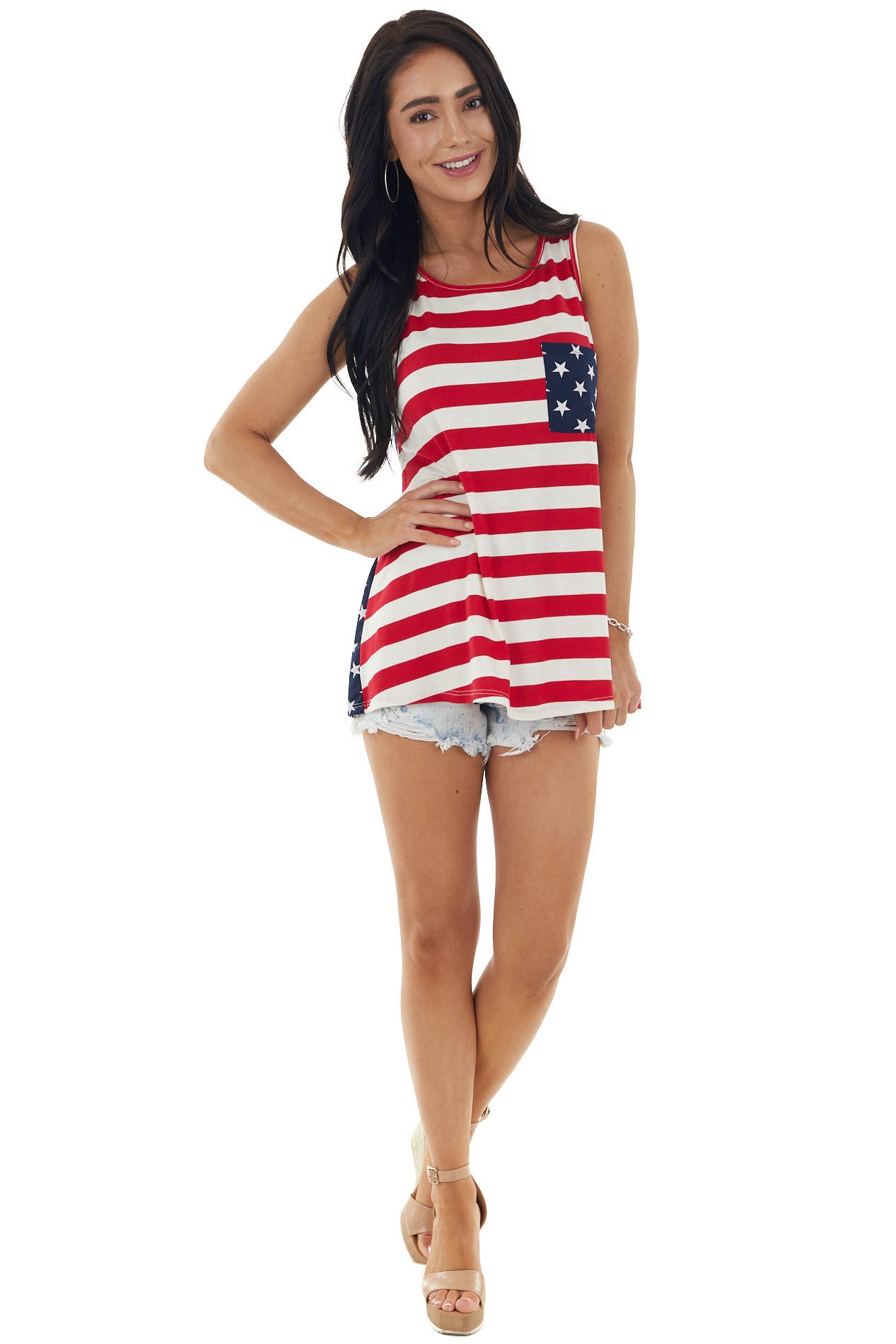 Ruby American Flag Print Sleeveless Tank with Chest Pocket