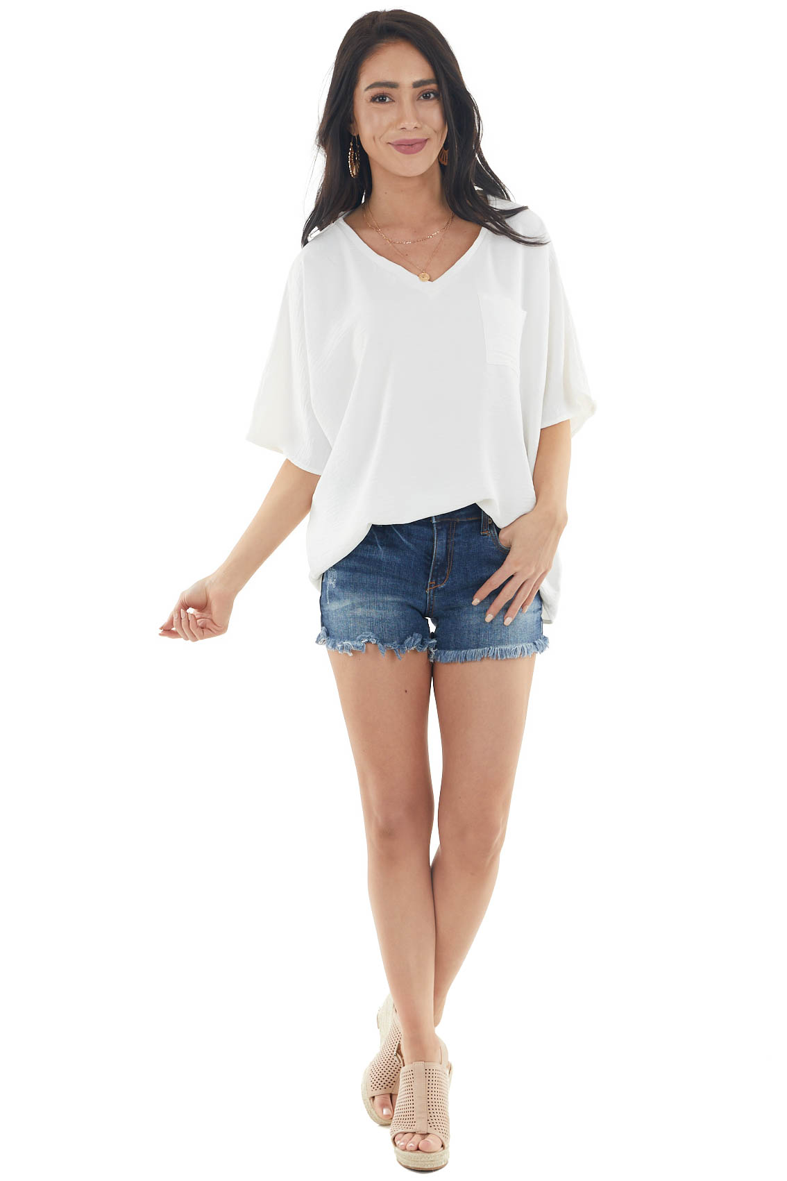 Ivory Oversized Woven Short Sleeve Top with Chest Pocket