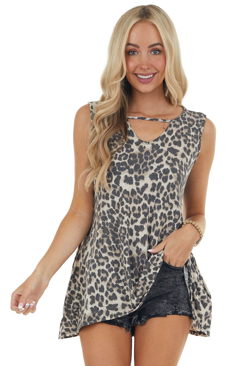 Desert Leopard Print Knit Sleeveless Top with Keyhole Detail