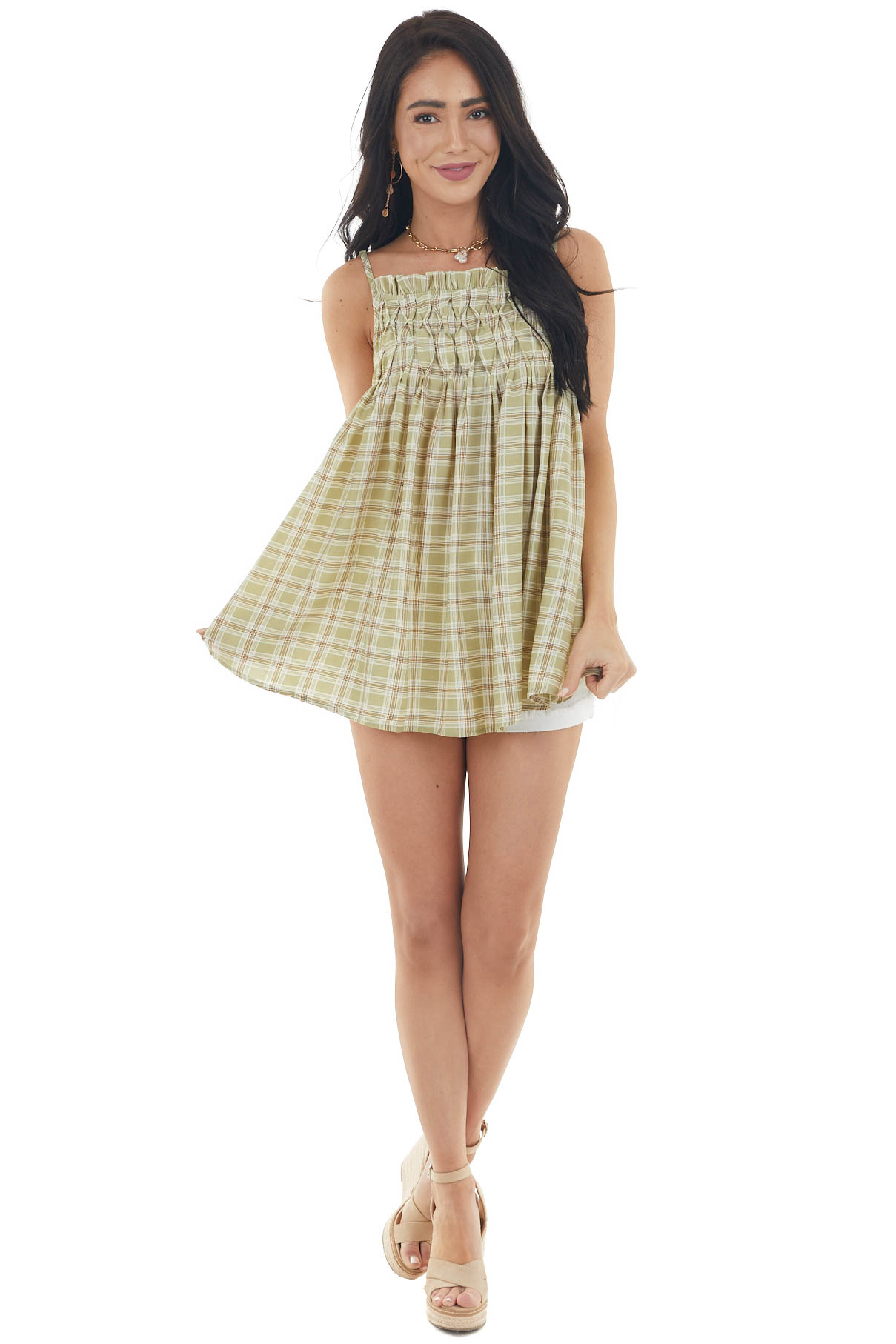 Pastel Olive Plaid Babydoll Tank Top with Smocked Detail