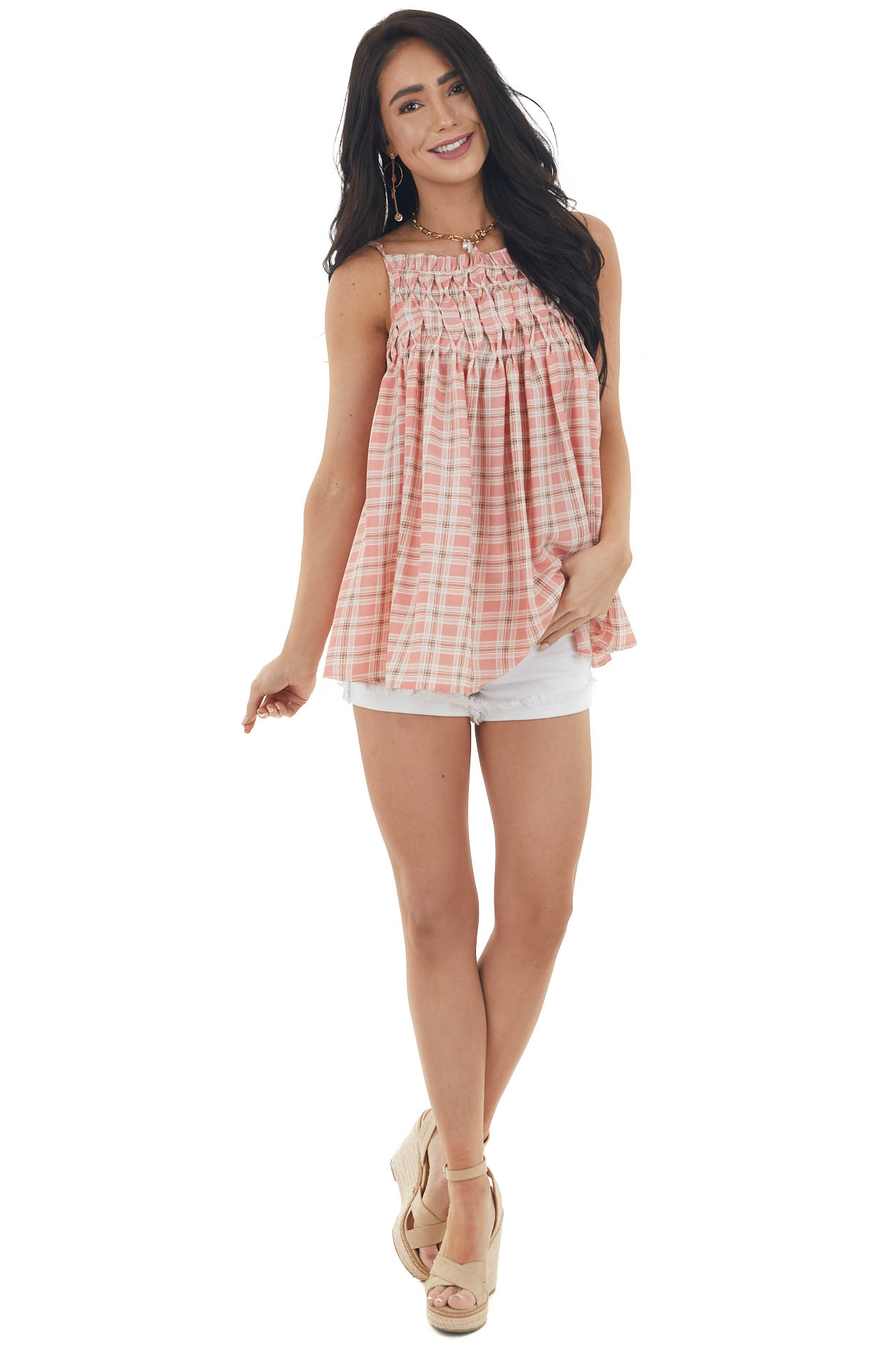 Coral Plaid Babydoll Tank Top with Smocked Detail