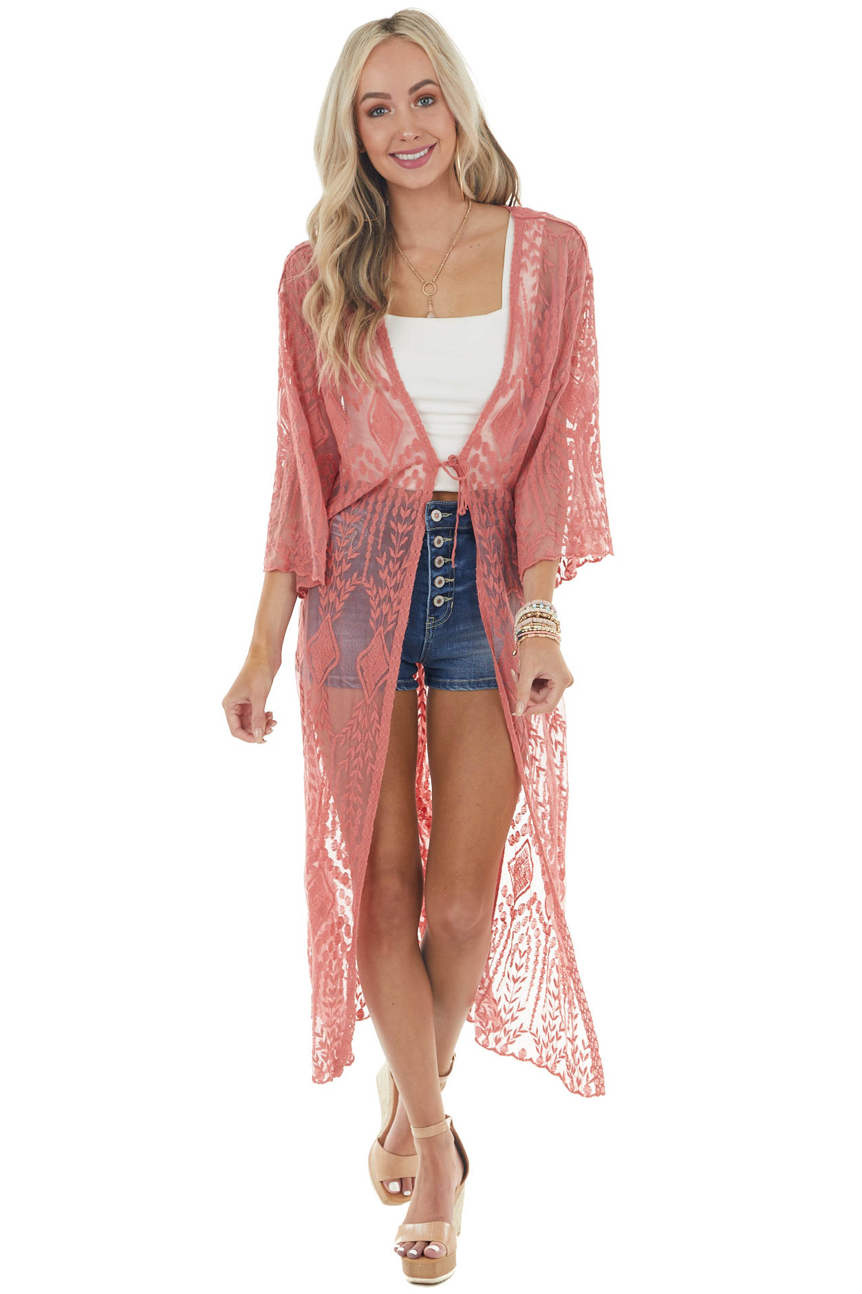 Rich Punch Long Sleeve Open Front Crochet Lace Kimono
