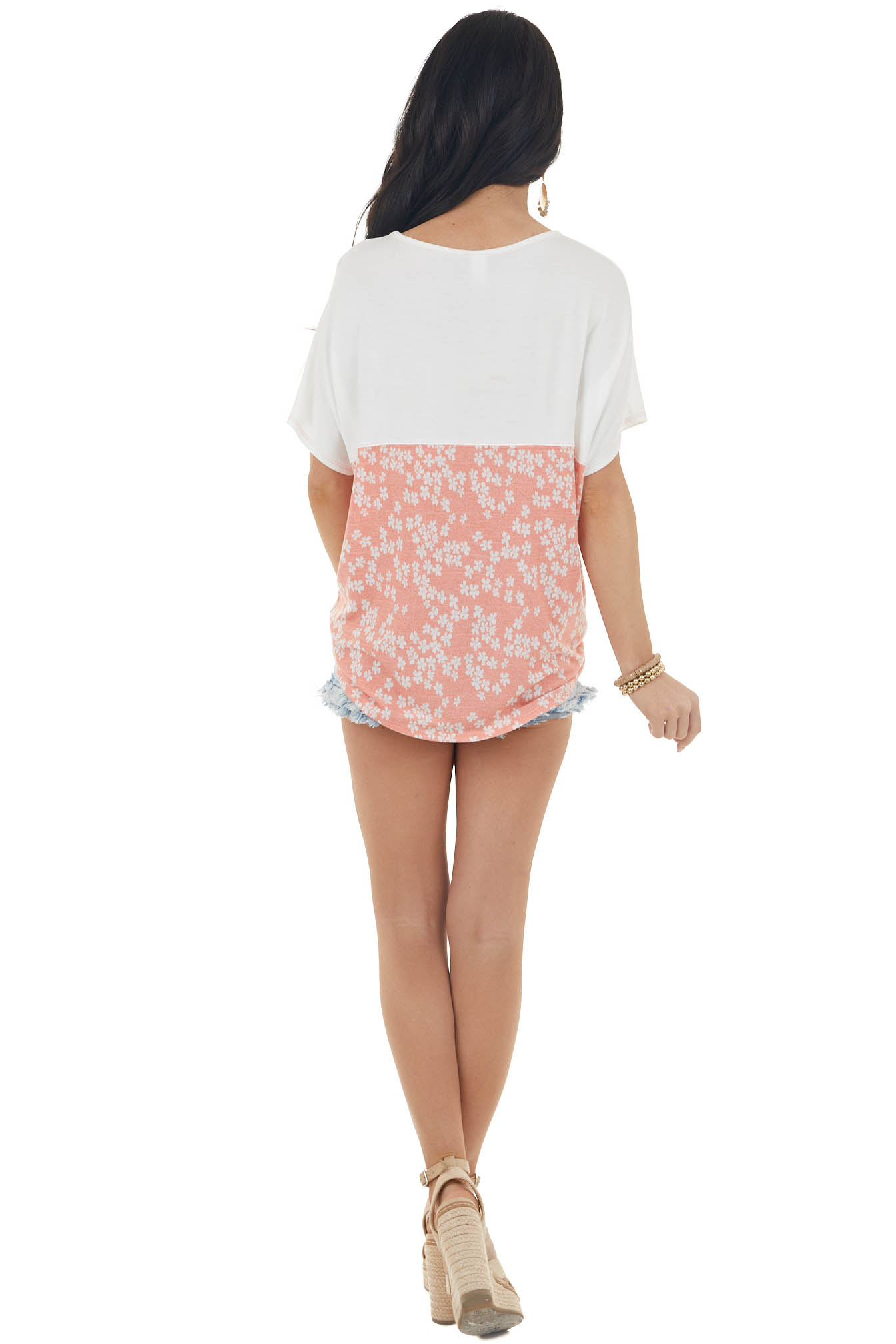Salmon Floral Print Short Sleeve Knit Top with Front Pocket