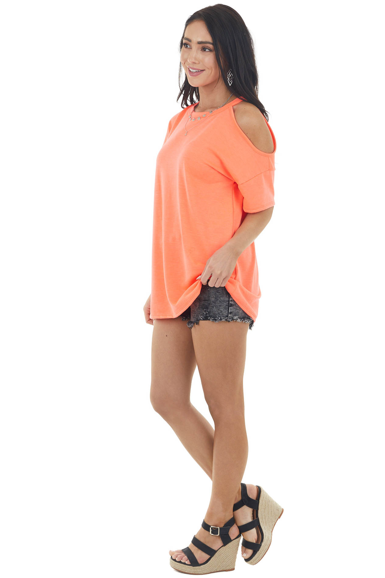 Neon Salmon Short Sleeve Cold Shoulder Stretchy Knit Top