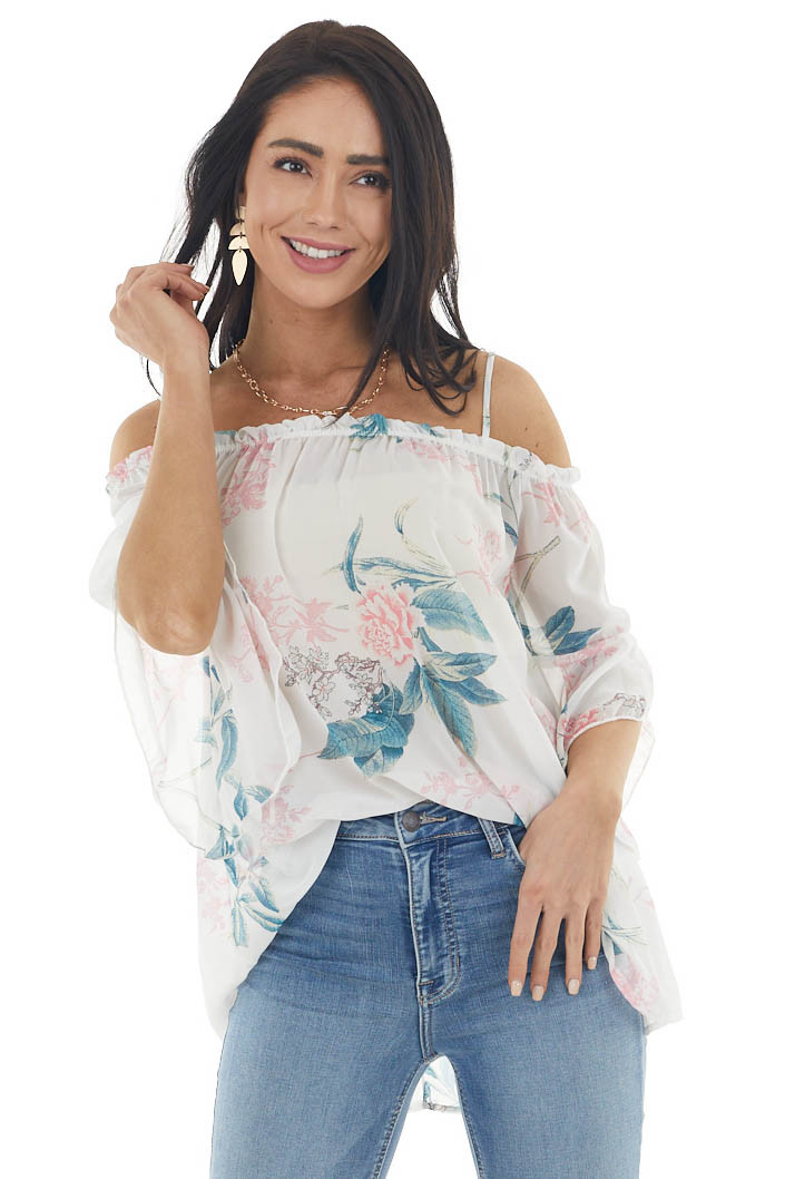 Pearl White Floral Short Sleeve Cold Shoulder Chiffon Blouse