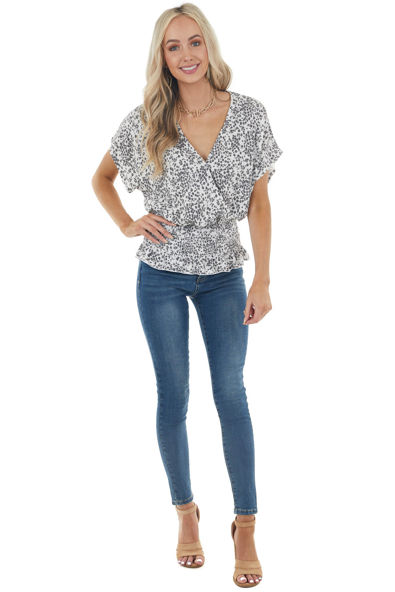 Ivory Floral Print Surplice Smocked Top with Short Sleeves