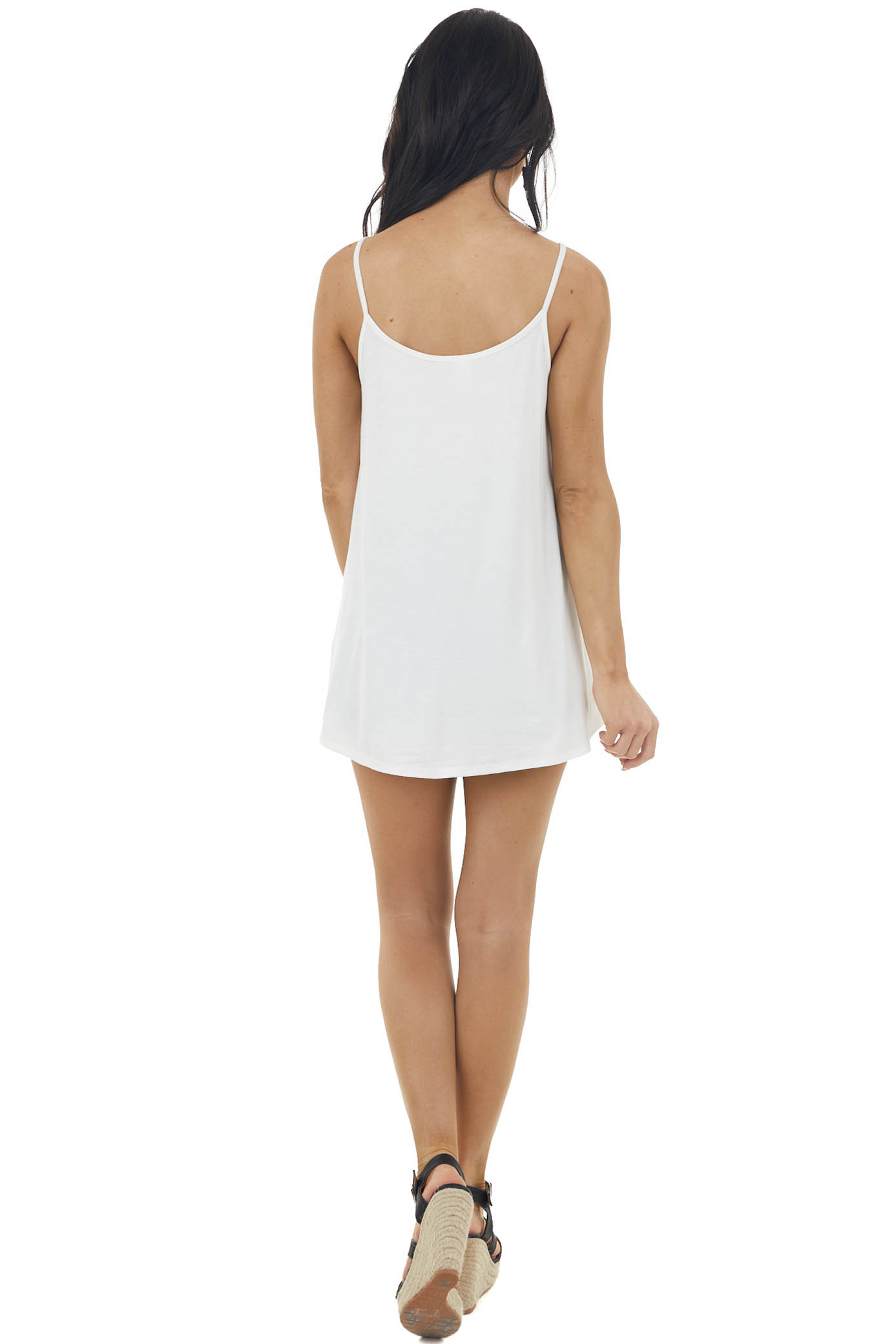 Pearl Colorblock Caged Neckline Tank Top with Front Tie