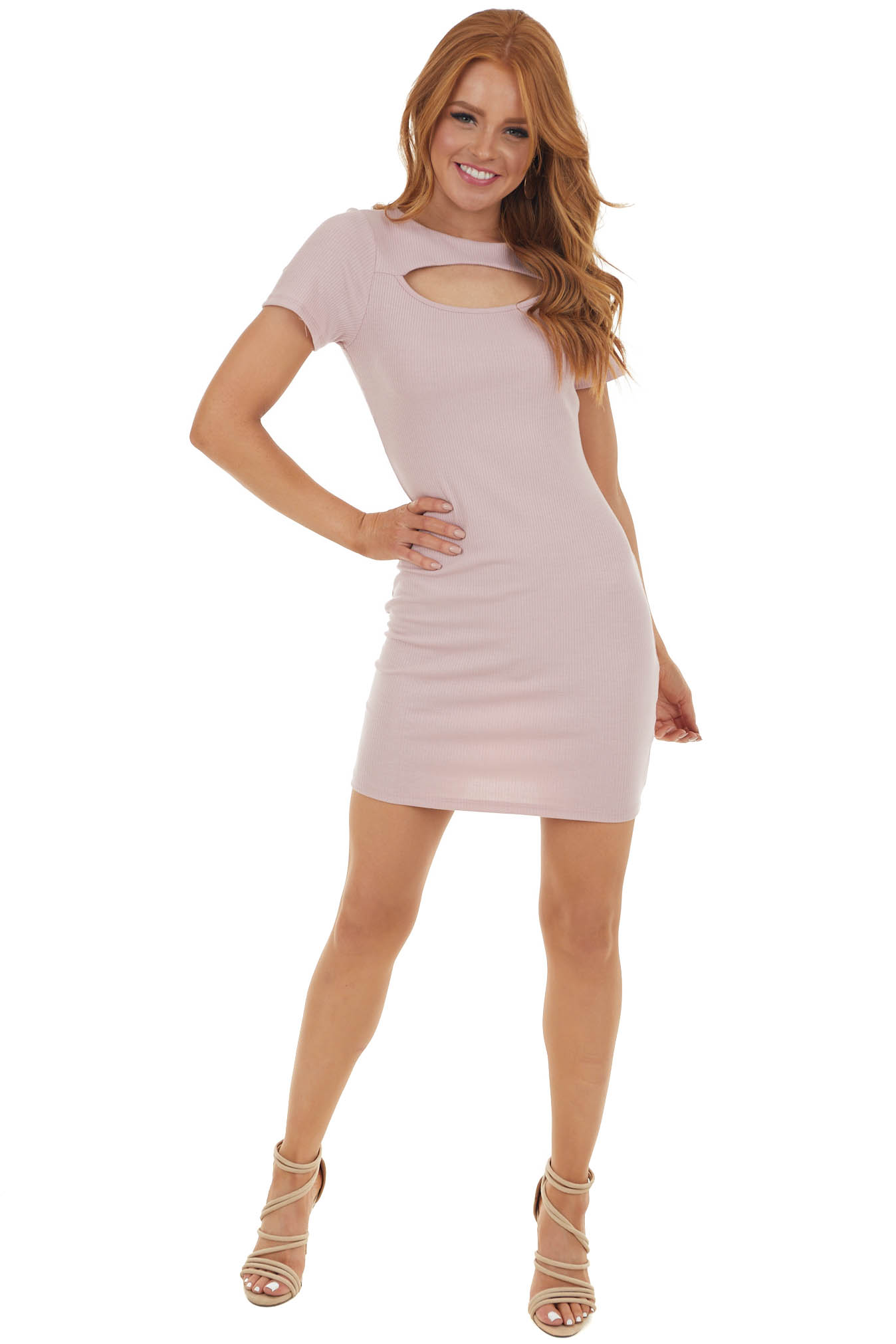 Dusty Blush Bodycon Ribbed Knit Dress with Cutout Detail