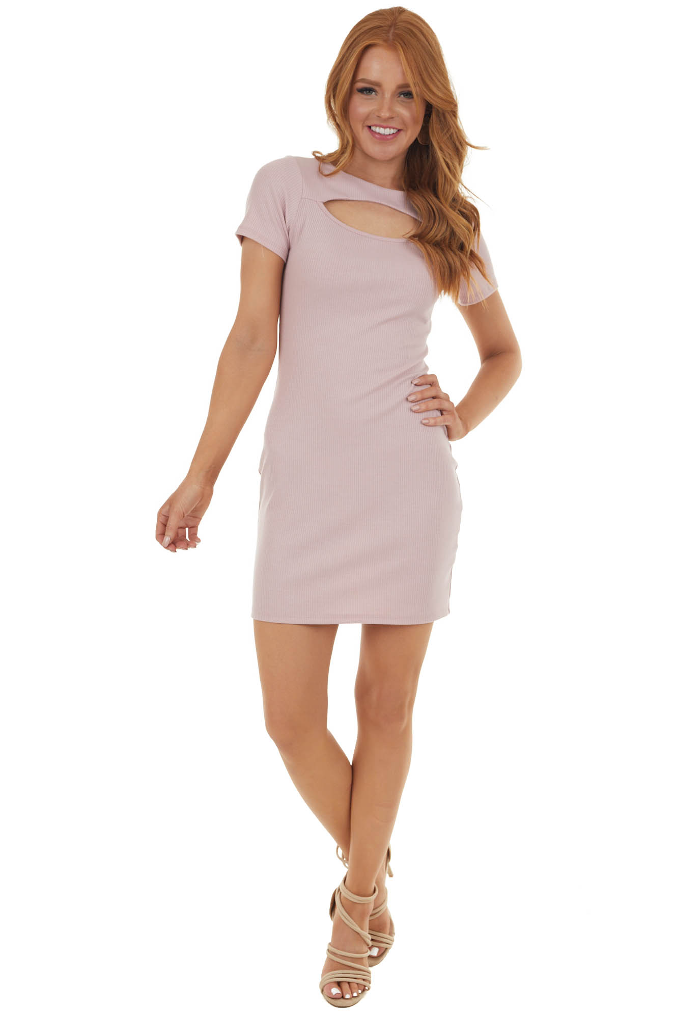 Dusty Blush Bodycon Ribbed Knit Dress with Cutout Detail  1