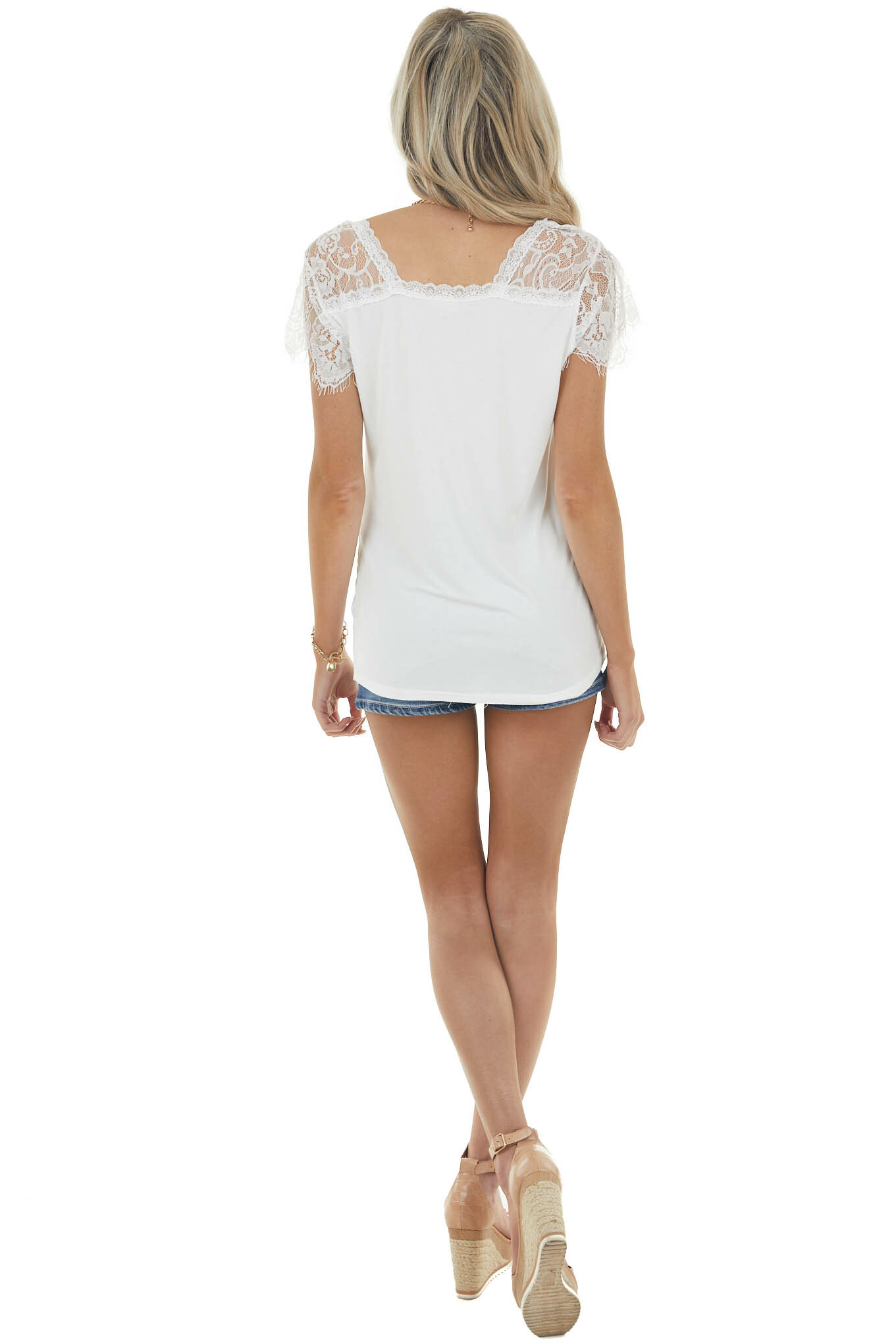 Off White Scoop Neck Top with Sheer Lace Sleeves and Fringe