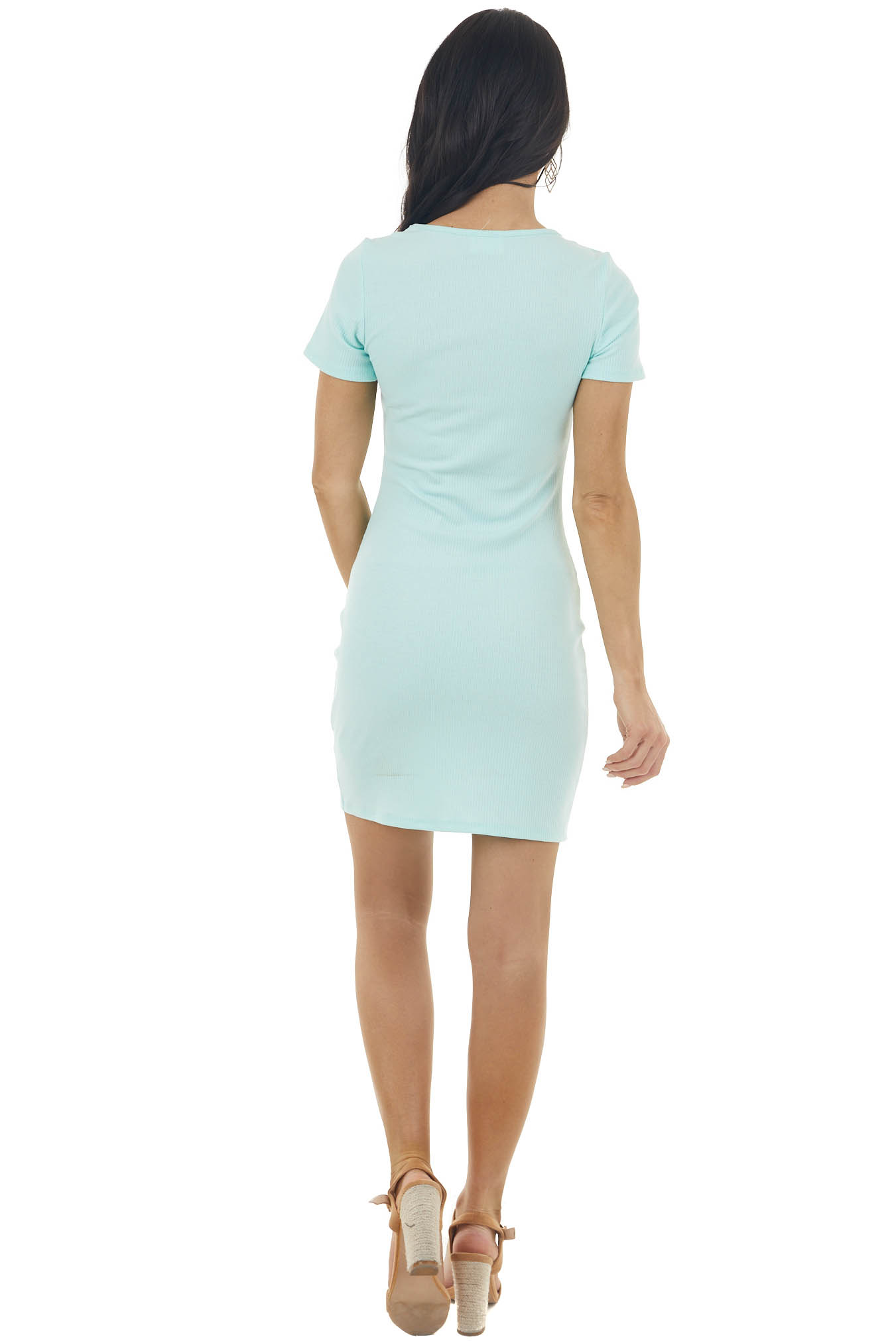 Aqua Blue Bodycon Ribbed Knit Dress with Cutout Detail