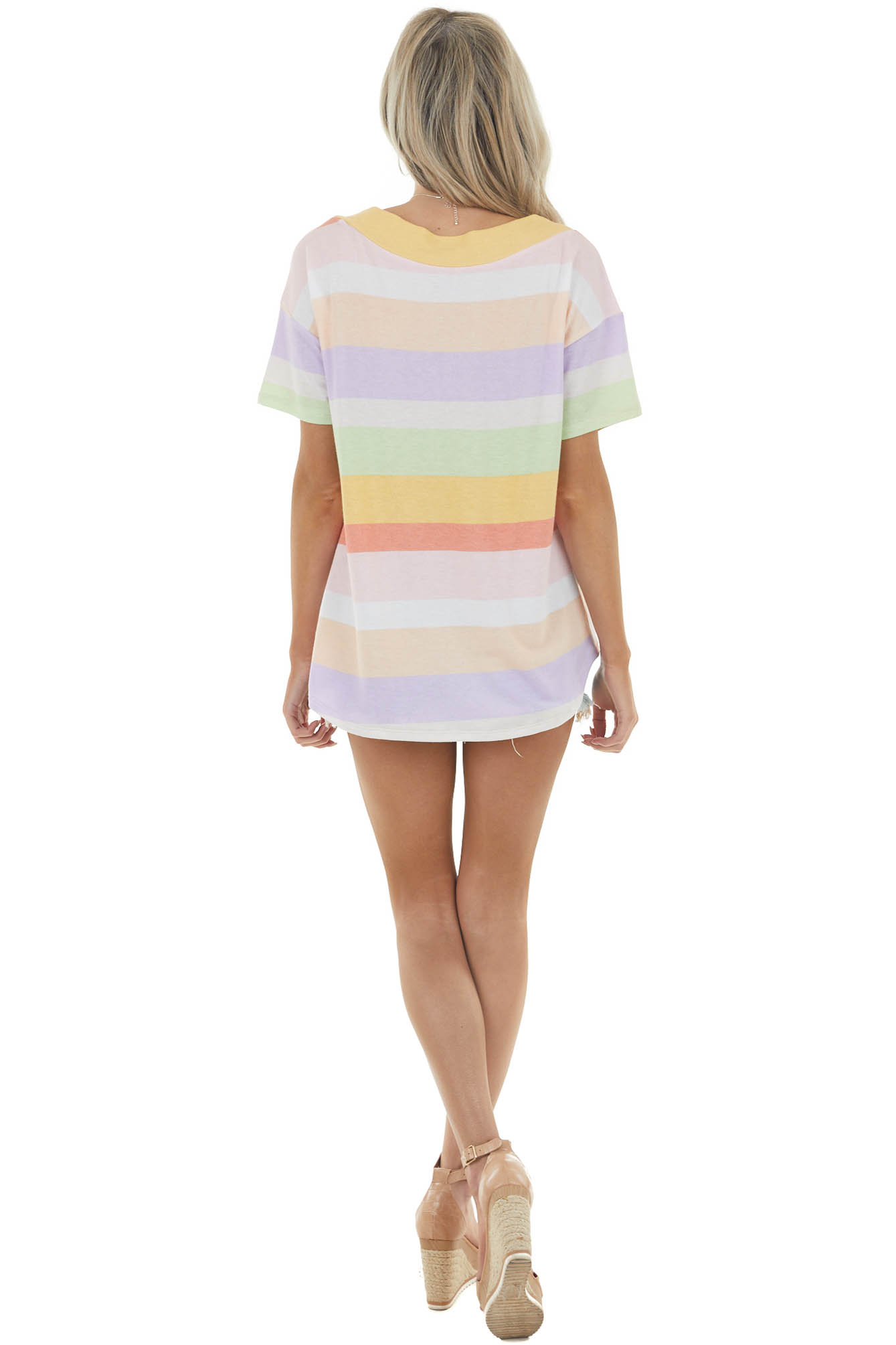 Pastel Colorful Striped Short Sleeve Knit Top with V Neckline