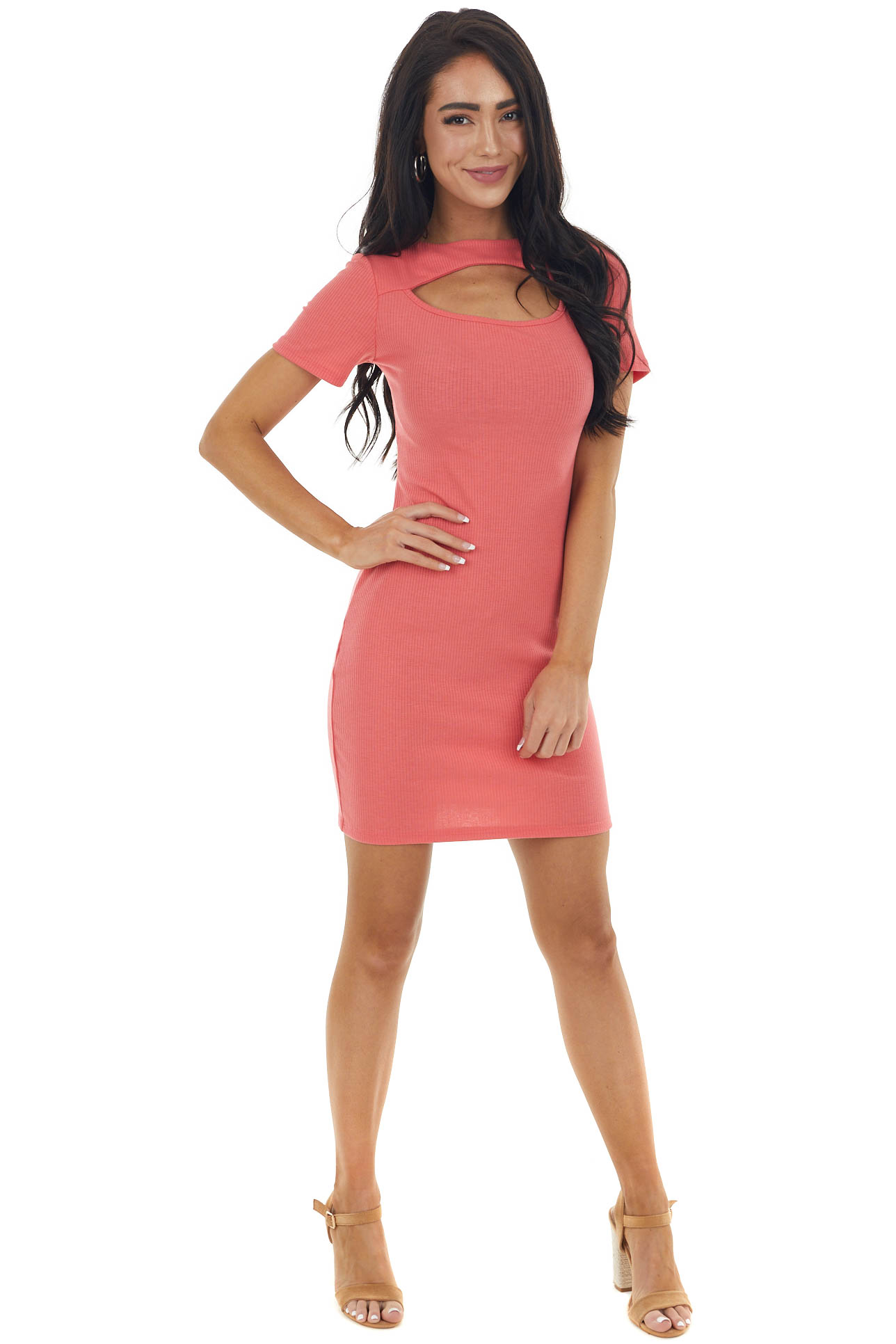 Rich Coral Bodycon Ribbed Knit Dress with Cutout Detail
