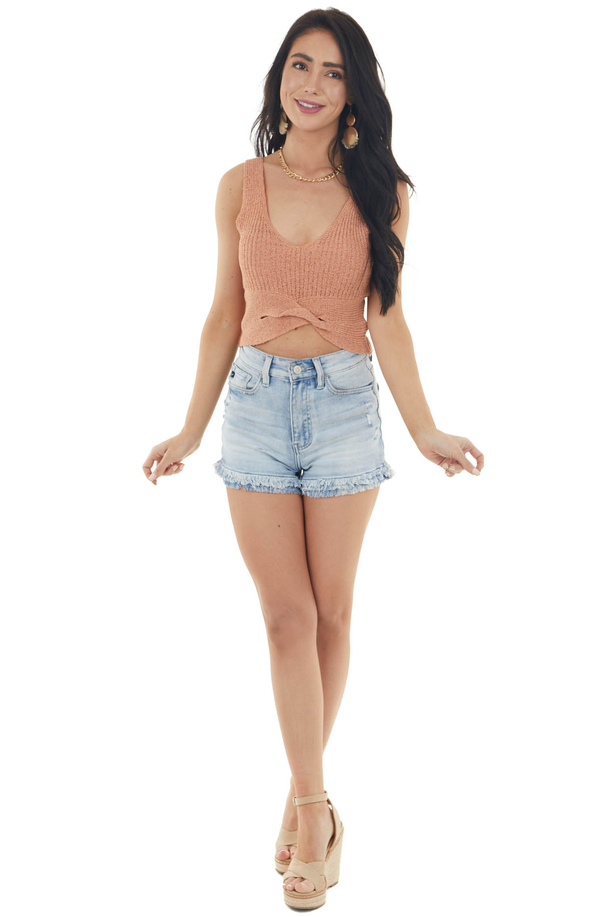 Salmon Sleeveless Knit Crop Top with Front Twist Detail