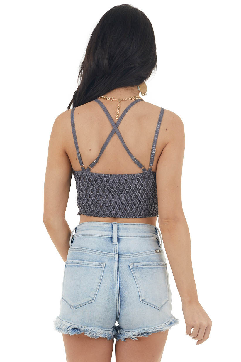 Charcoal Crochet Lace Bralette with Washed Detail