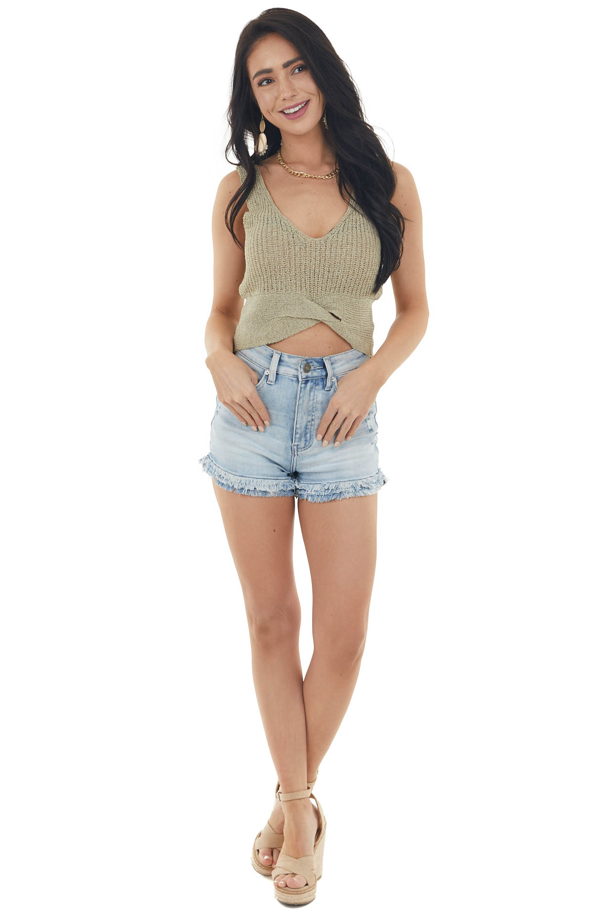 Dusty Green Sleeveless Knit Crop Top with Front Twist Detail