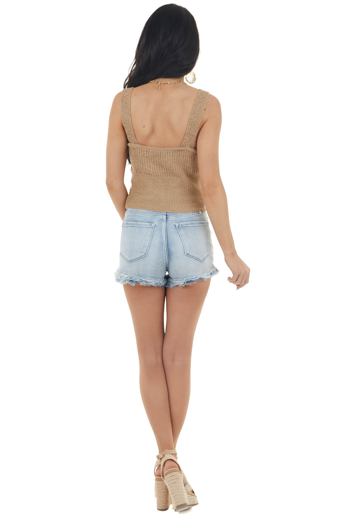 Taupe Sleeveless Knit Crop Top with Front Twist Detail