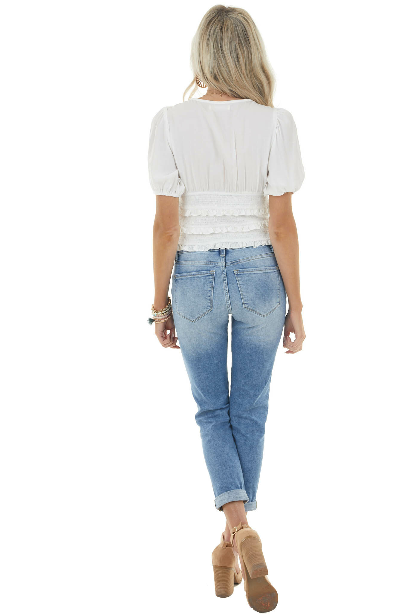 Off White Short Puff Sleeve Blouse with Smocked Detail