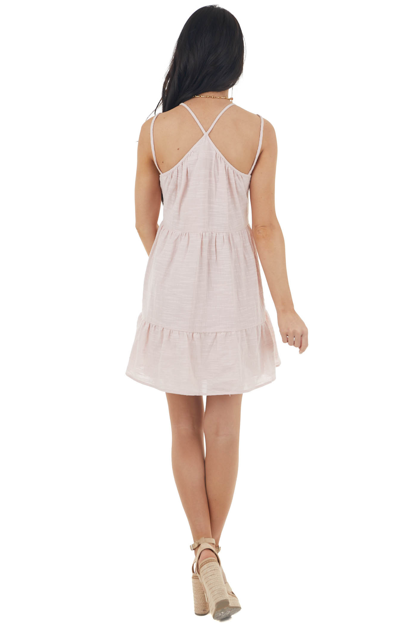 Blush Sleeveless Woven Tiered Mini Dress with Lace Details