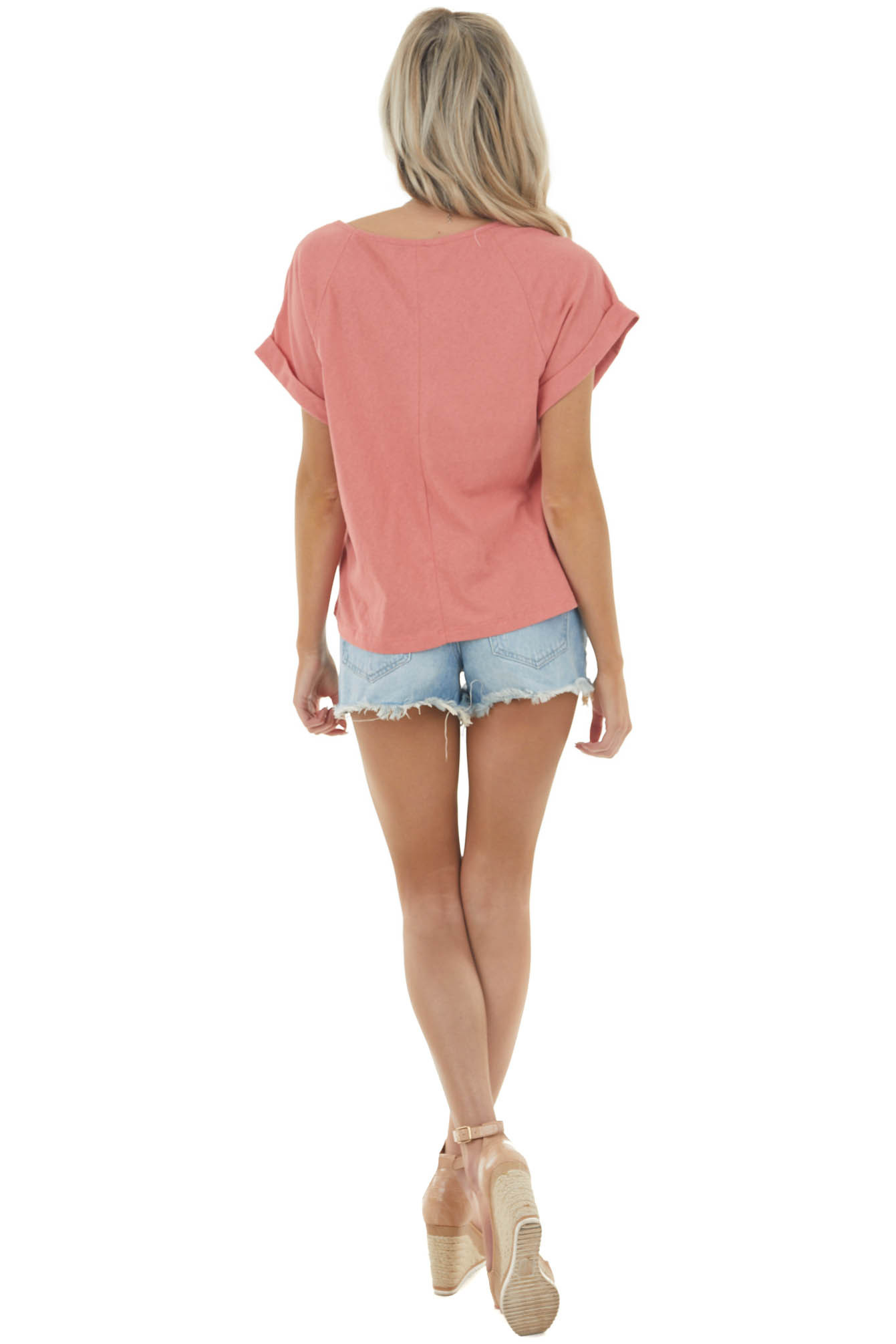 Punch Pink Round Neck Knit Top with Short Cuffed Sleeves