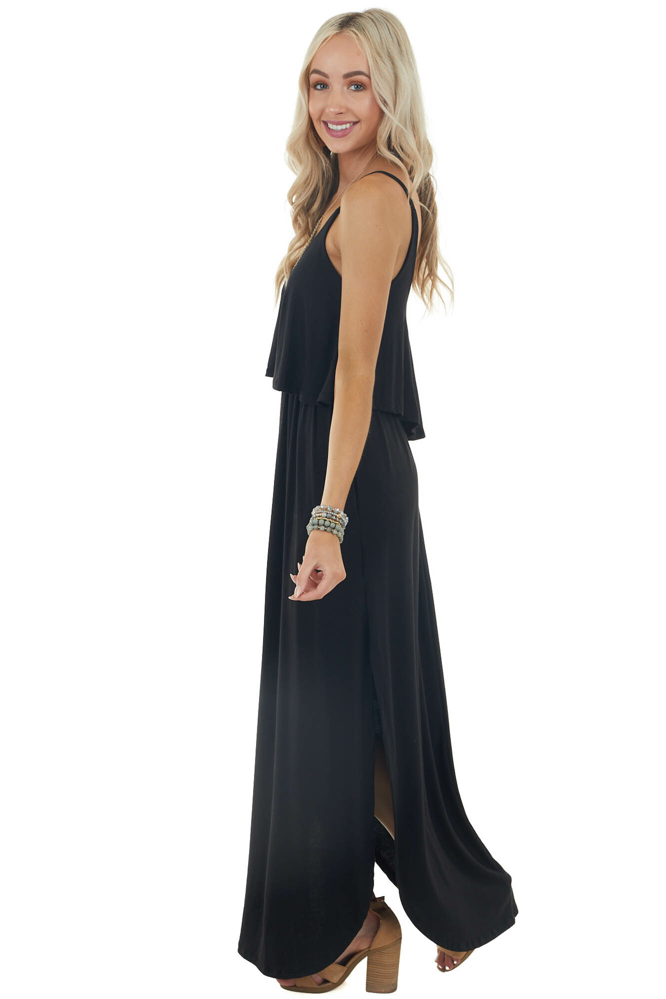 Black Sleeveless Knit Maxi Dress with Ruffle Overlay