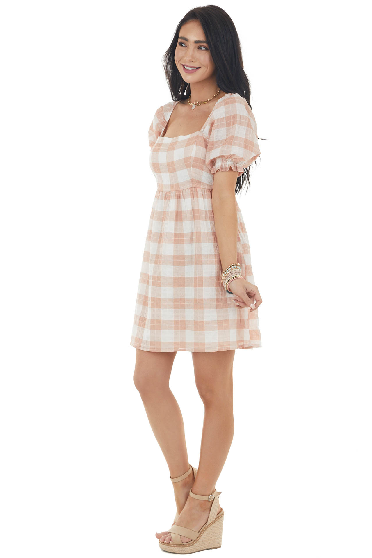 Peach Plaid Square Neckline Babydoll Dress with Puff Sleeves
