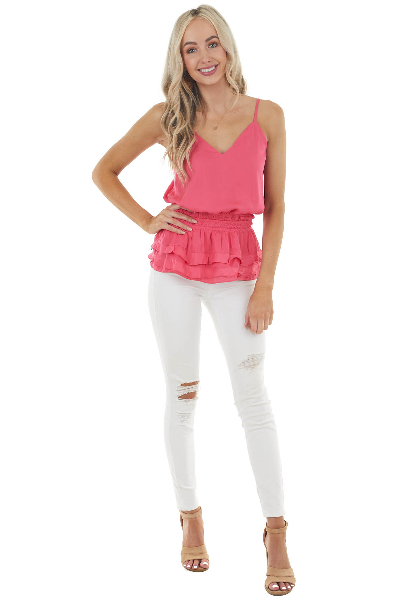Hot Pink V Neck Woven Camisole with Tiered Ruffle Details