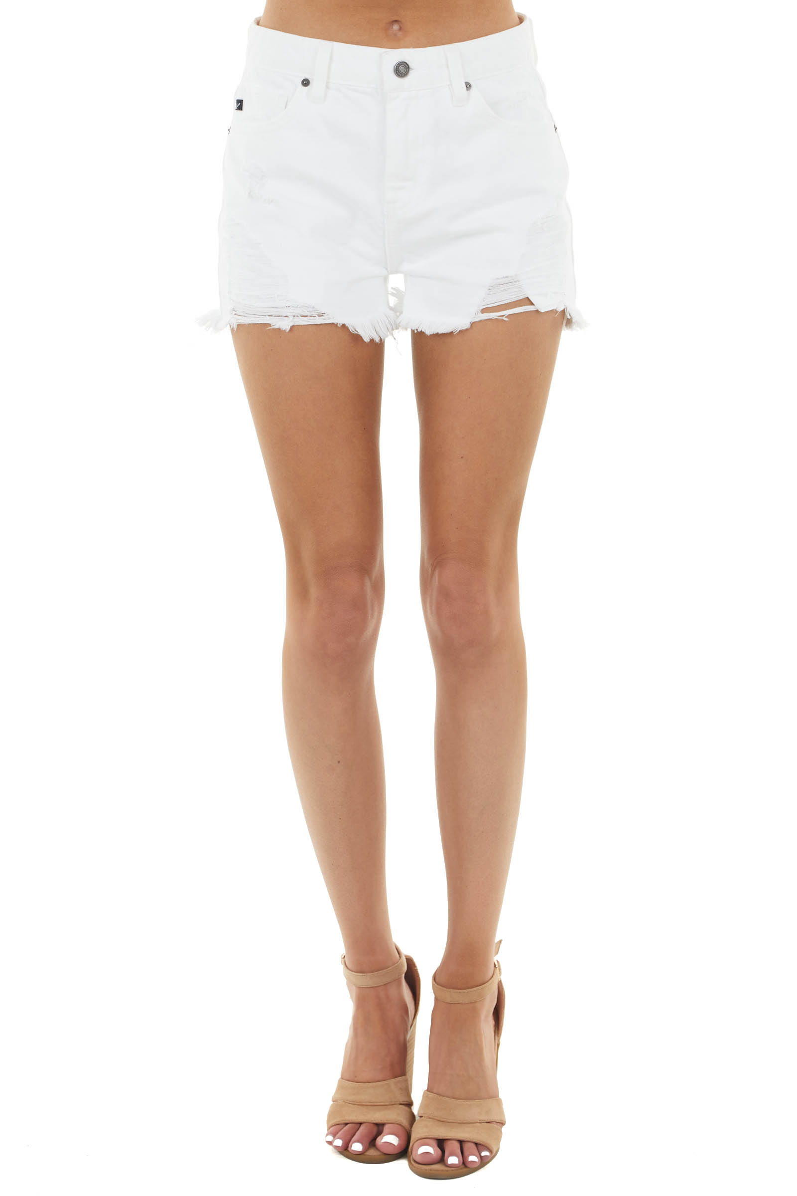 White High Rise Jean Shorts with Distressed Details