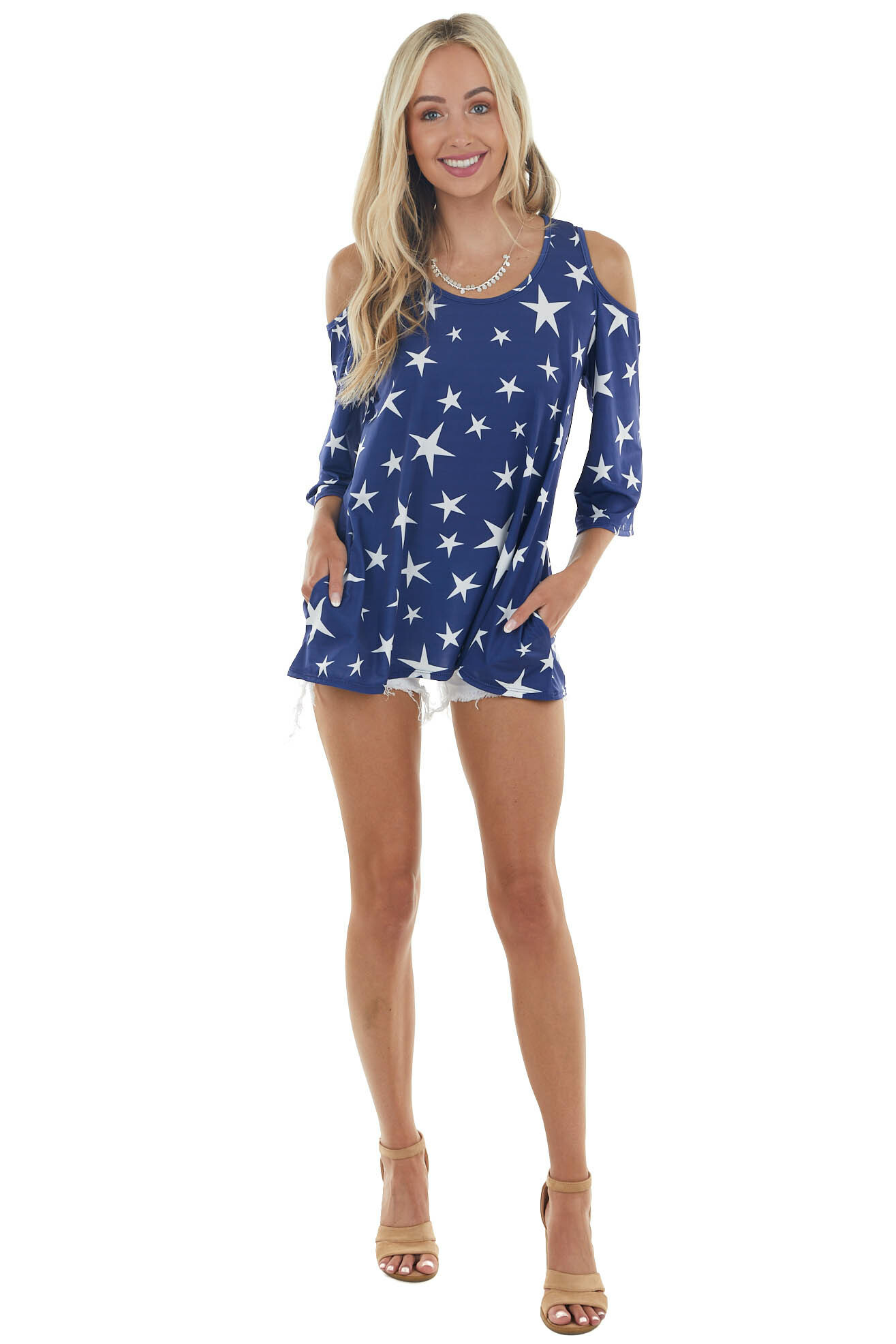 Navy Star Print Cold Shoulder Knit Top with Side Pockets