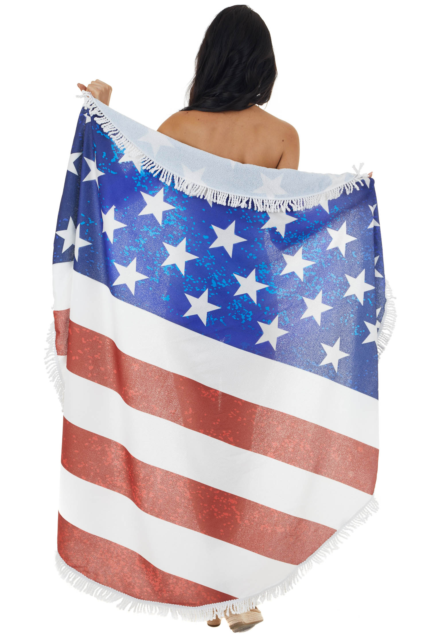 American Flag Print Rounded Beach Towel with Tassel Details
