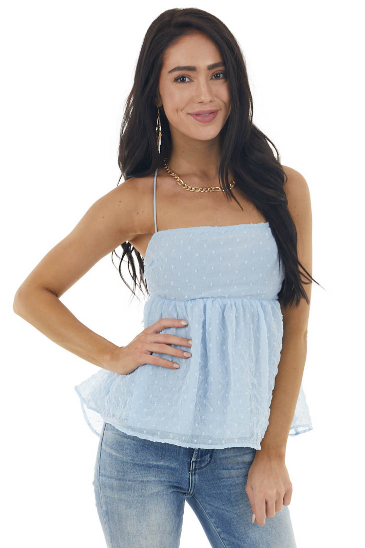 Baby Blue Swiss Dot Sleeveless Blouse with Strappy Details