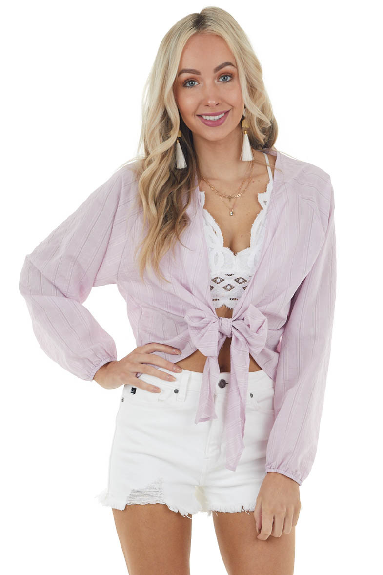 Light Lilac Striped Textured Long Sleeve Top with Tie Front