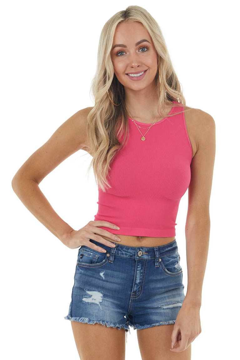 Hot Pink Ribbed Knit Sleeveless Crew Neck Crop Top