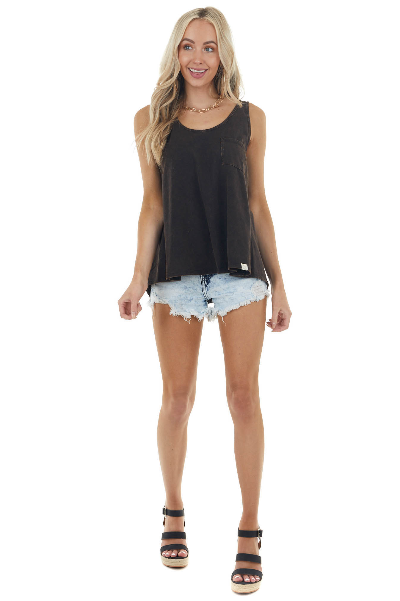 Black Mineral Wash Knit Tank Top with Front Pocket