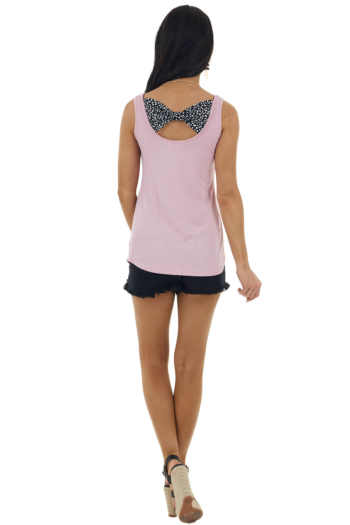 Baby Pink Sleeveless Knit Top with Printed Bow Detail