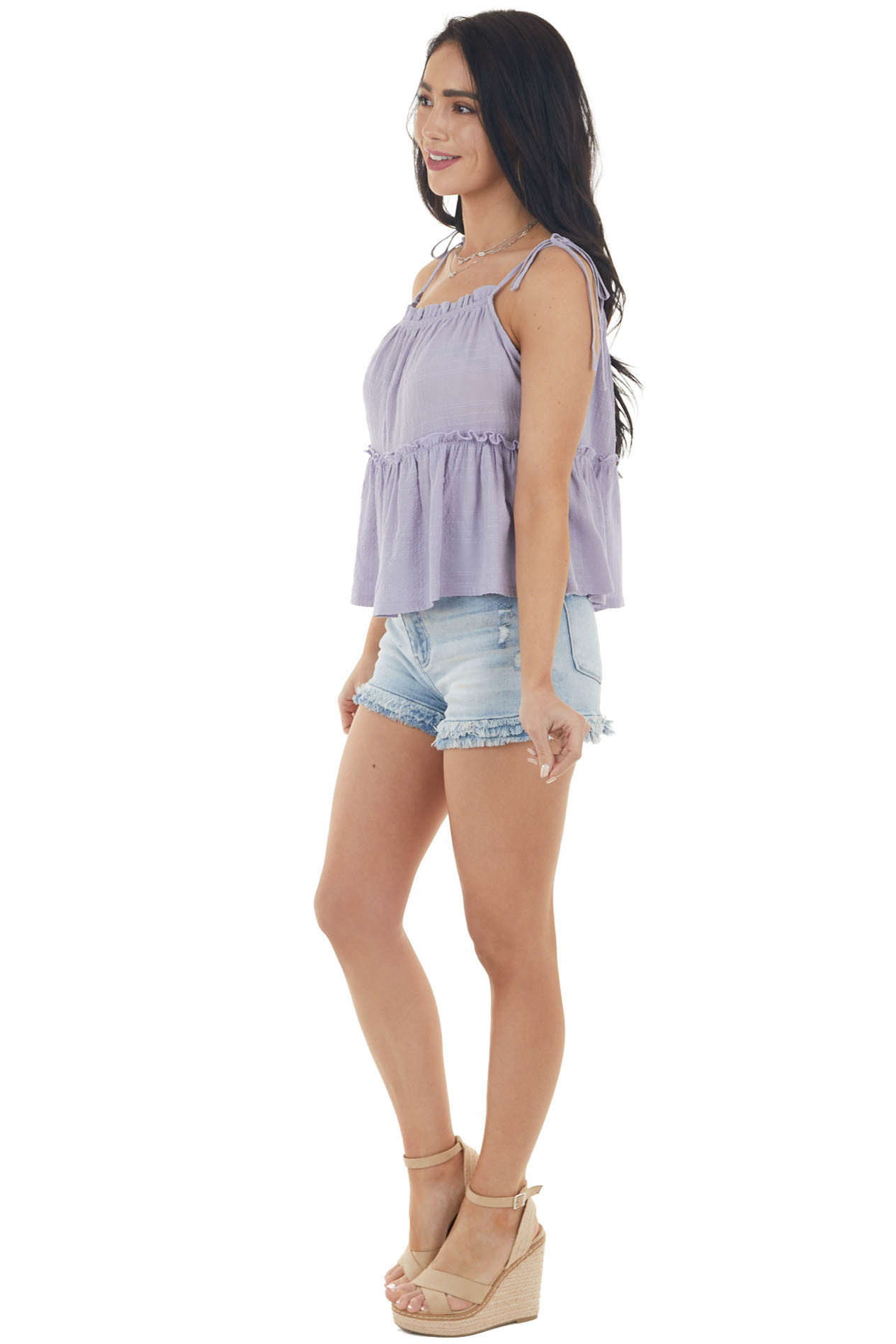 Light Lavender Ruffled Textured Blouse with Tie Straps