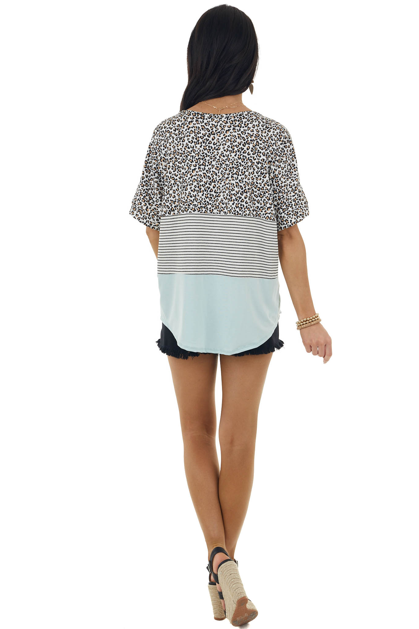 Light Turquoise Leopard and Stripe Print Short Sleeve Top