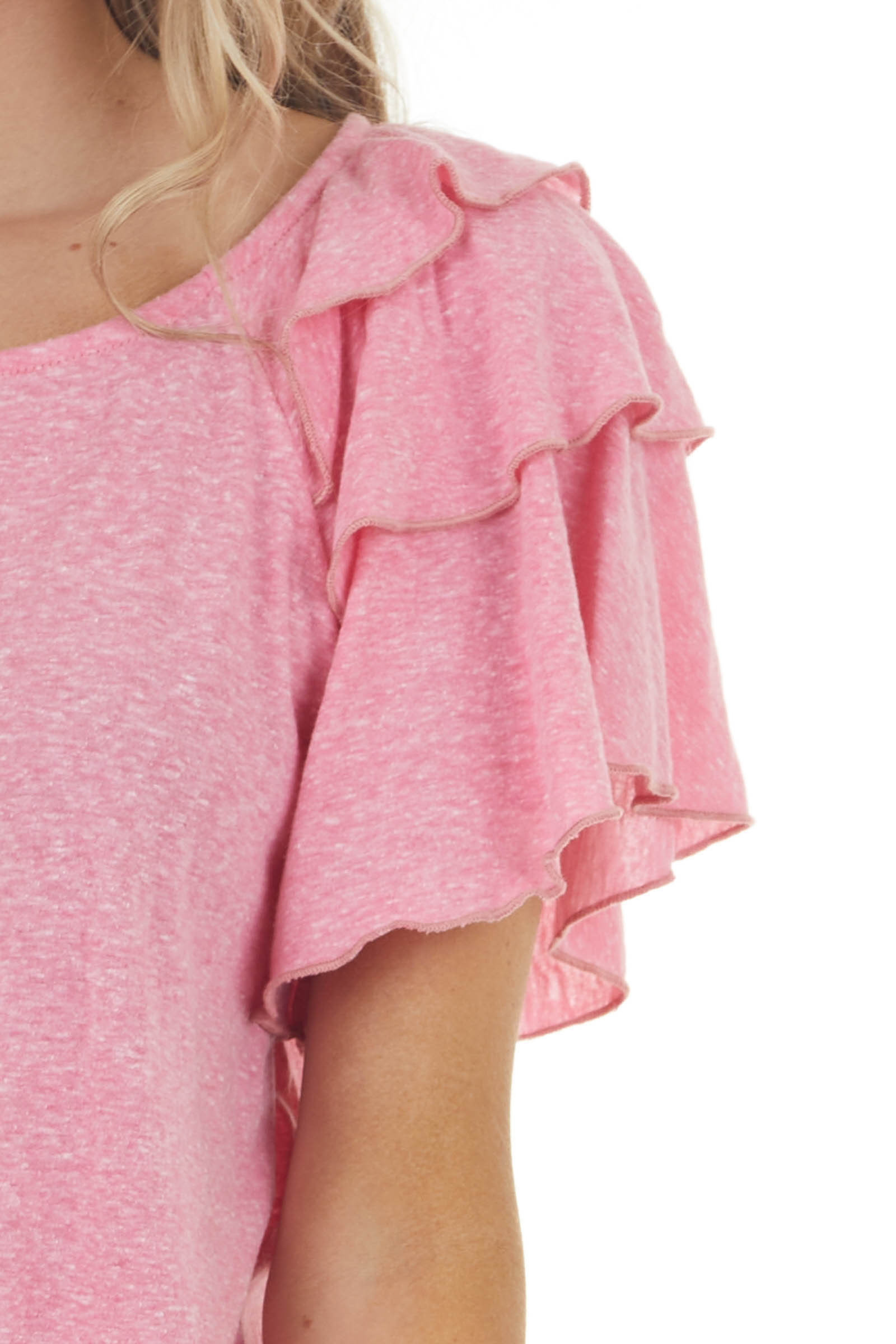 Melange Pink Knit Top with Short Layered Ruffle Sleeves