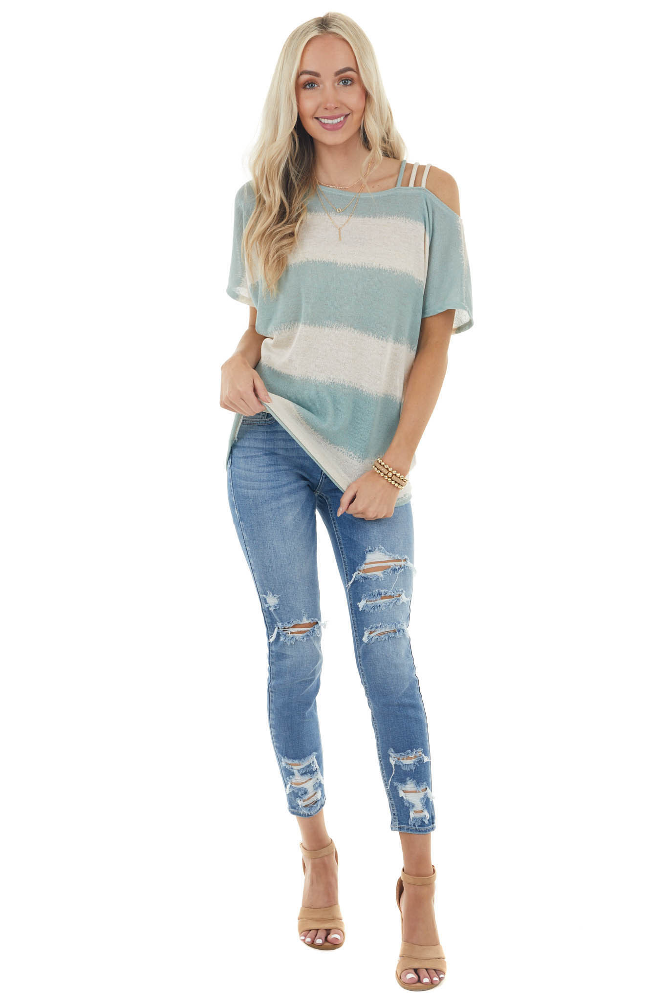Teal and Cream Striped Strappy Cold Shoulder Knit Top