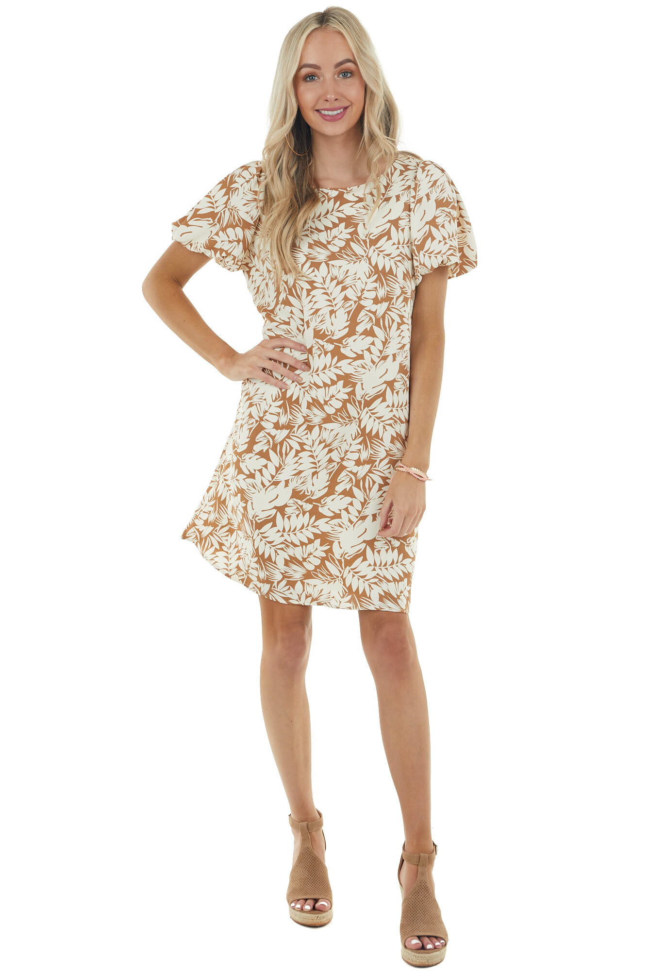 Light Sepia Leaf Print Woven Dress with Short Puff Sleeves