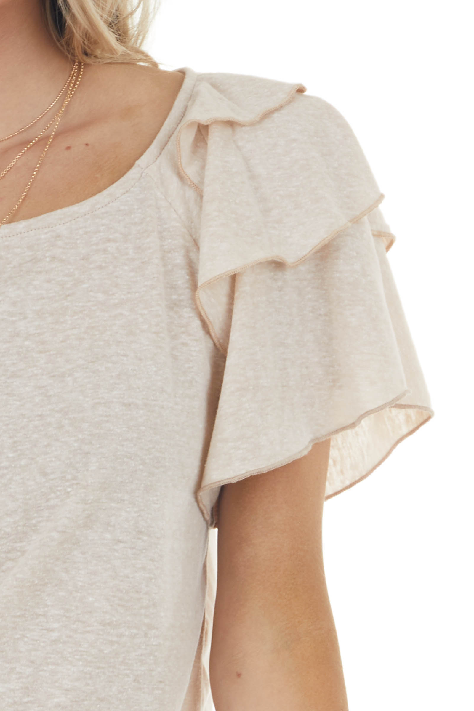 Desert Sand Knit Top with Short Layered Ruffle Sleeves