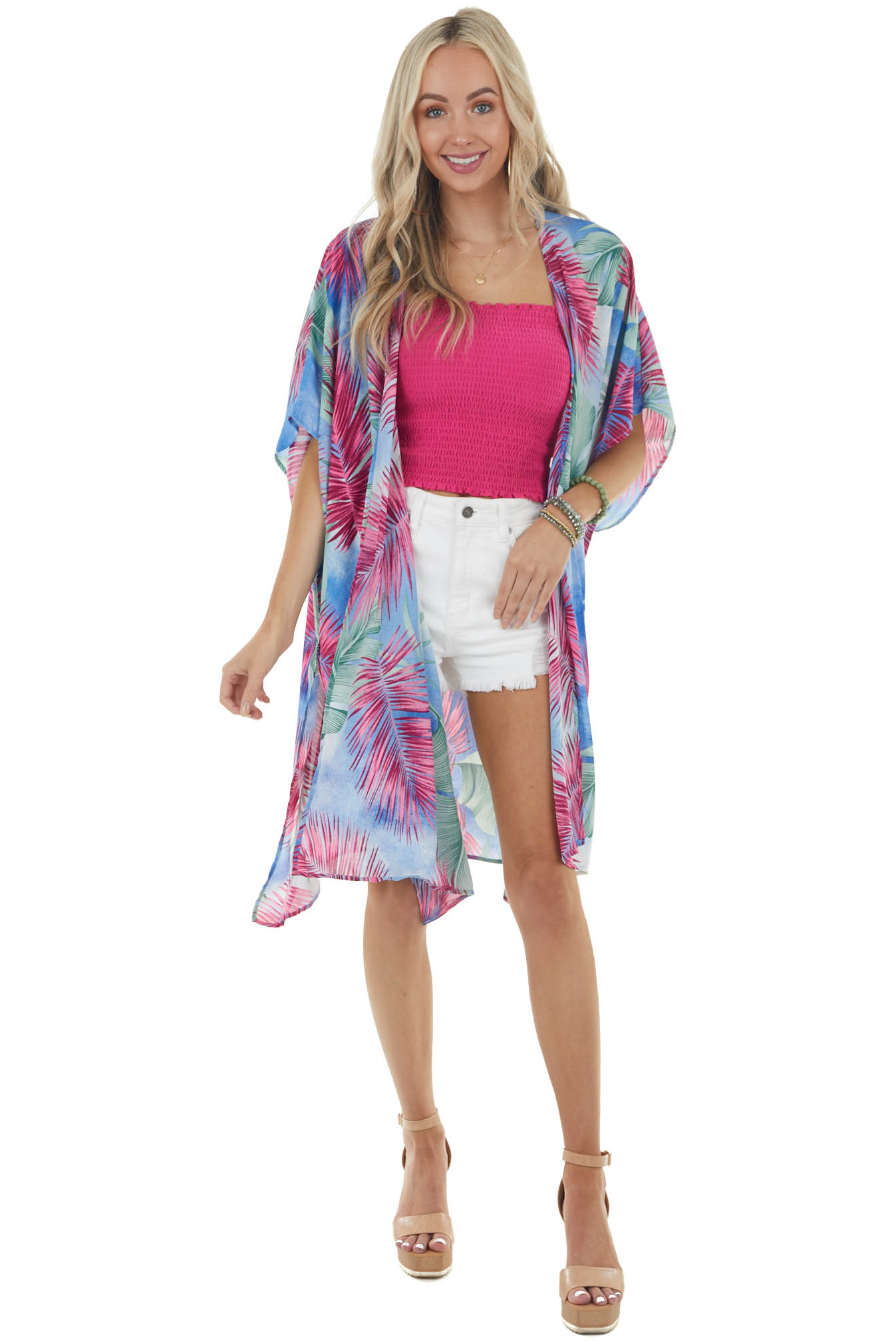 Royal Blue Palm Printed Open Front Kimono with Side Slits