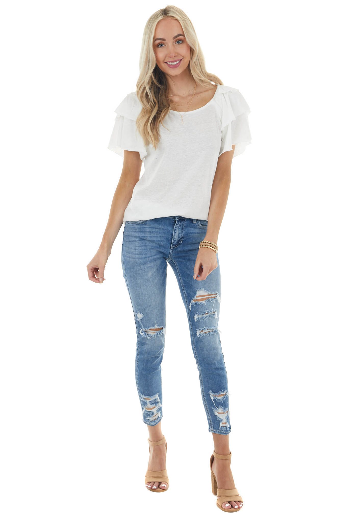 Off White Knit Top with Short Layered Ruffle Sleeves