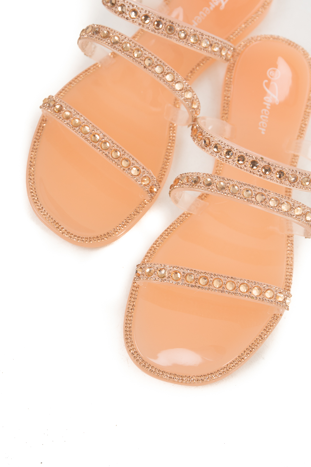 Beige Open Toe Jelly Sandals with Rhinestone Details