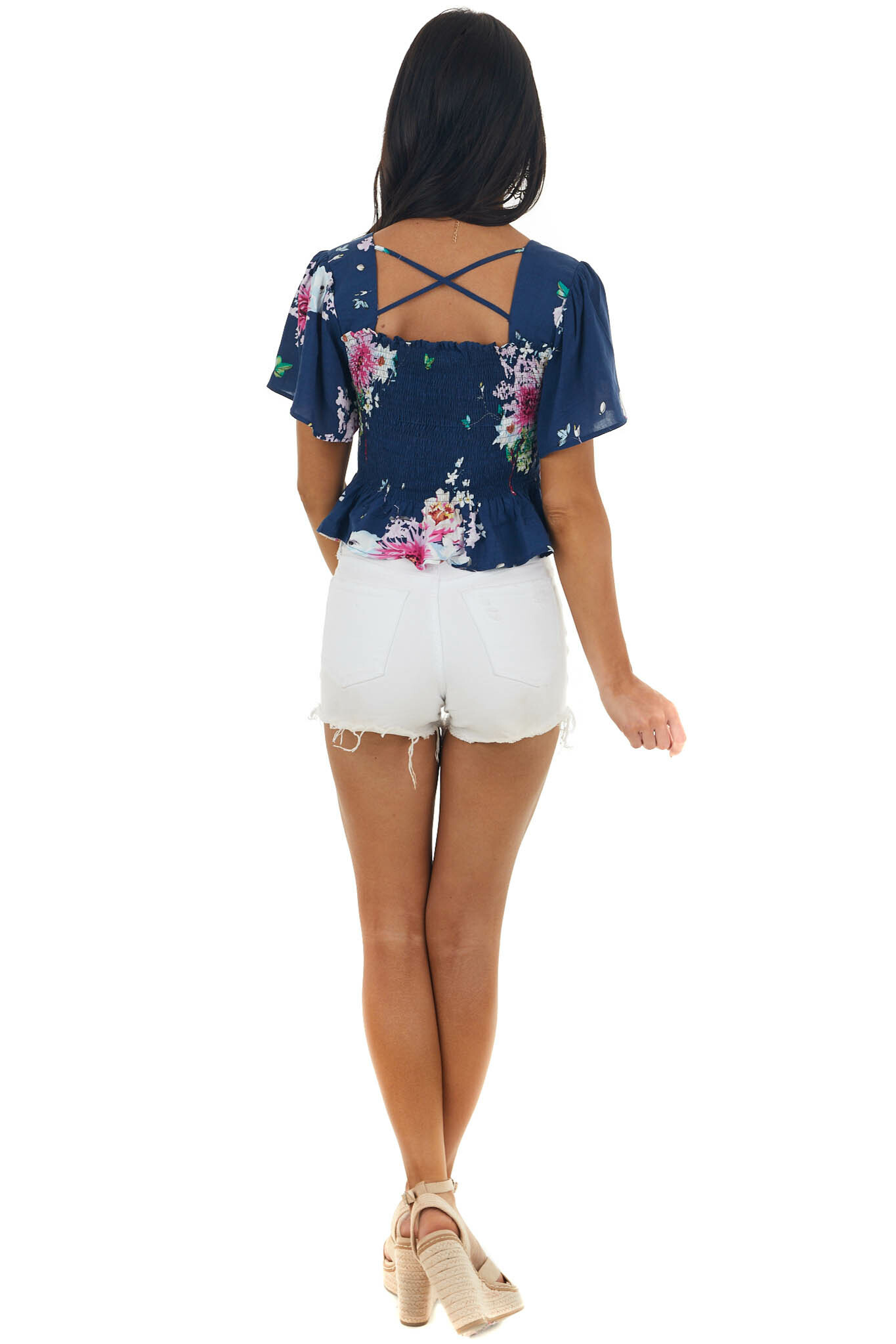 Navy Blue Floral Print Smocked Crop Top with Short Sleeves