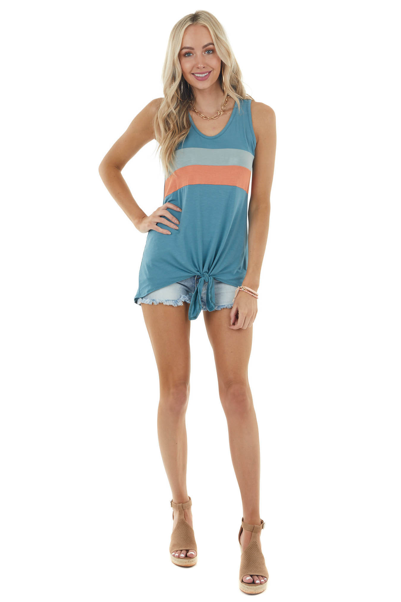 Lagoon Colorblock Sleeveless Top with Front Tie Detail