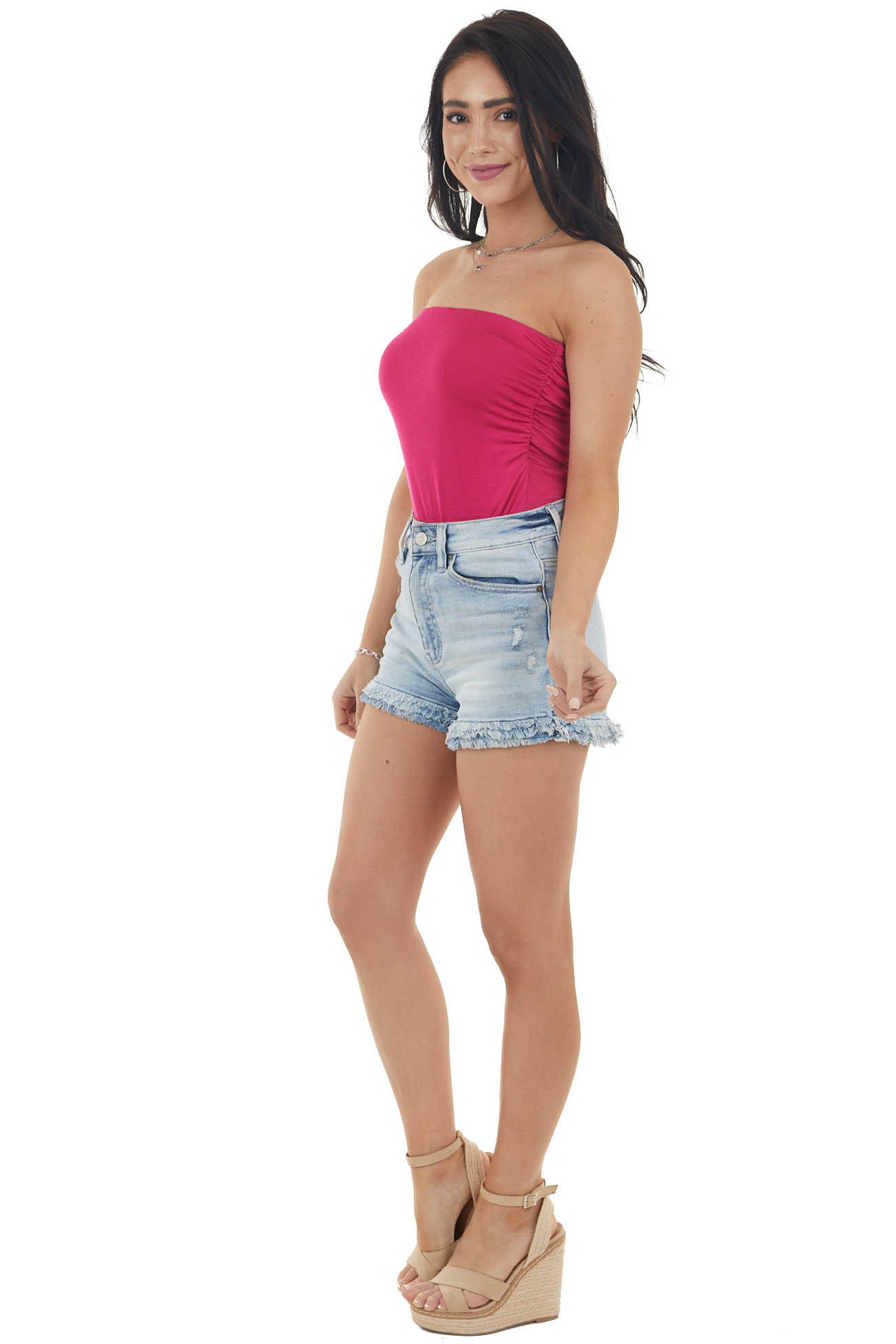 Magenta Strapless Stretchy Knit Bodysuit with Ruched Sides