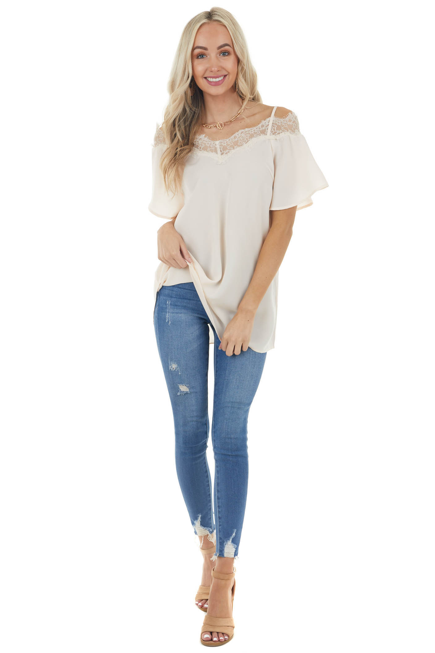 Desert Sand Cold Shoulder Short Sleeve Blouse with Lace